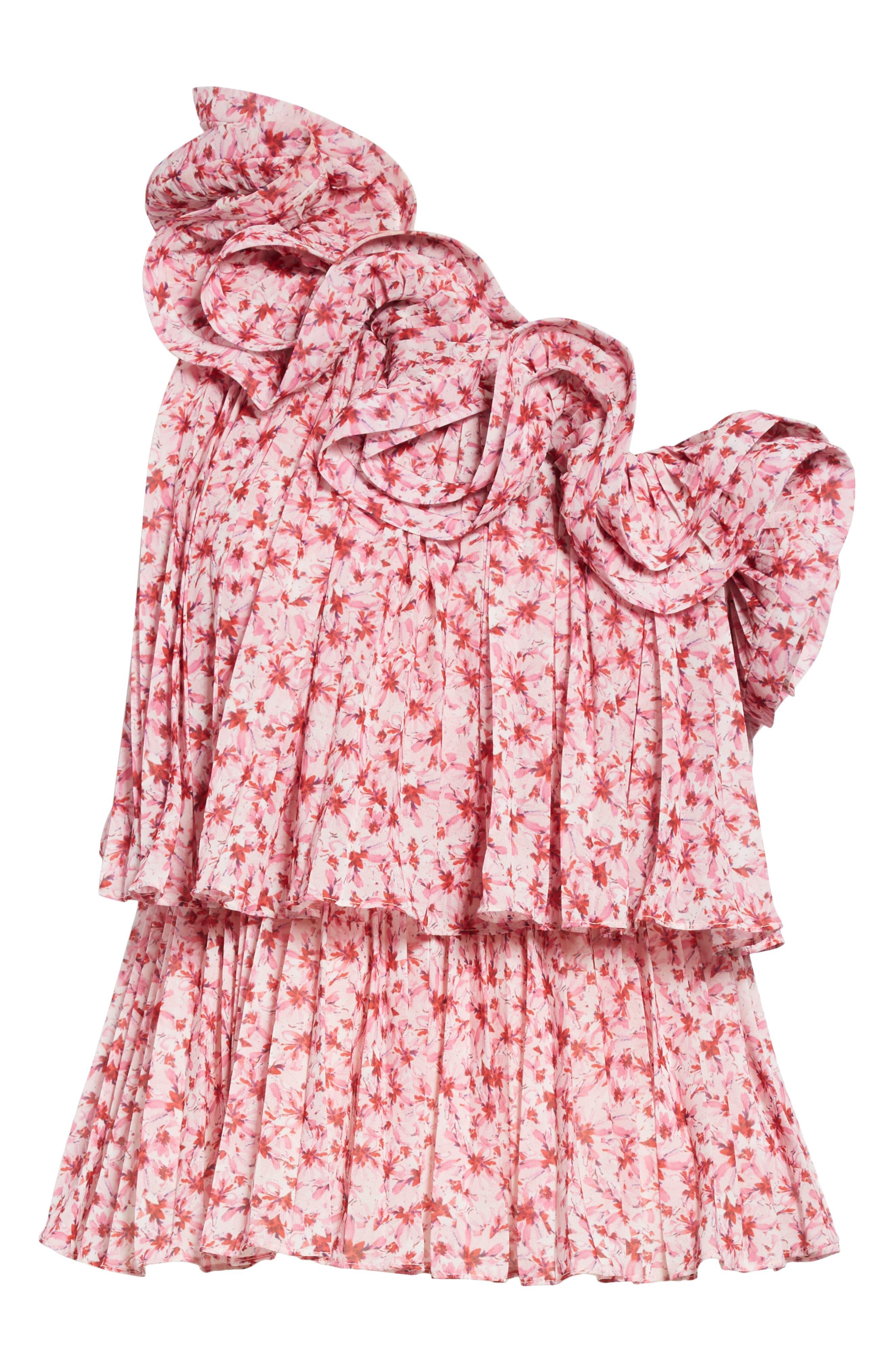 AMUR, Portia Floral Print One-Shoulder Top, Alternate thumbnail 6, color, PINK