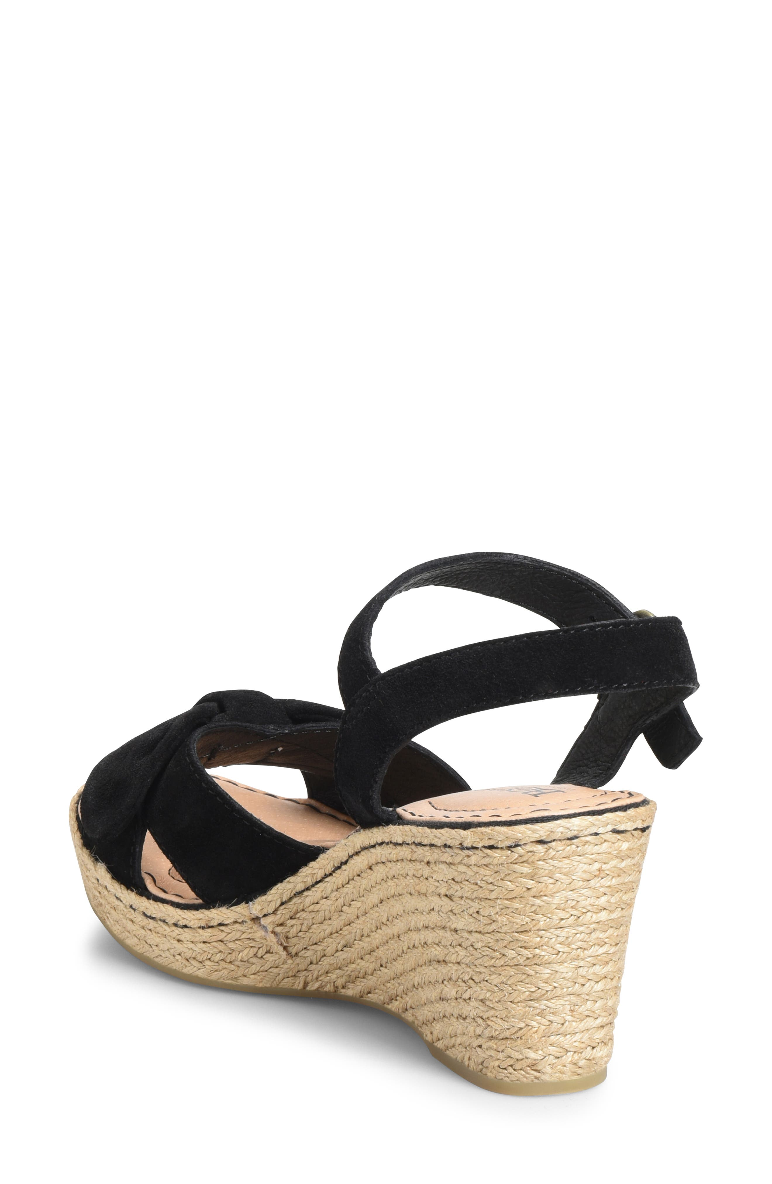 BØRN, Monticello Knotted Wedge Sandal, Alternate thumbnail 2, color, BLACK SUEDE