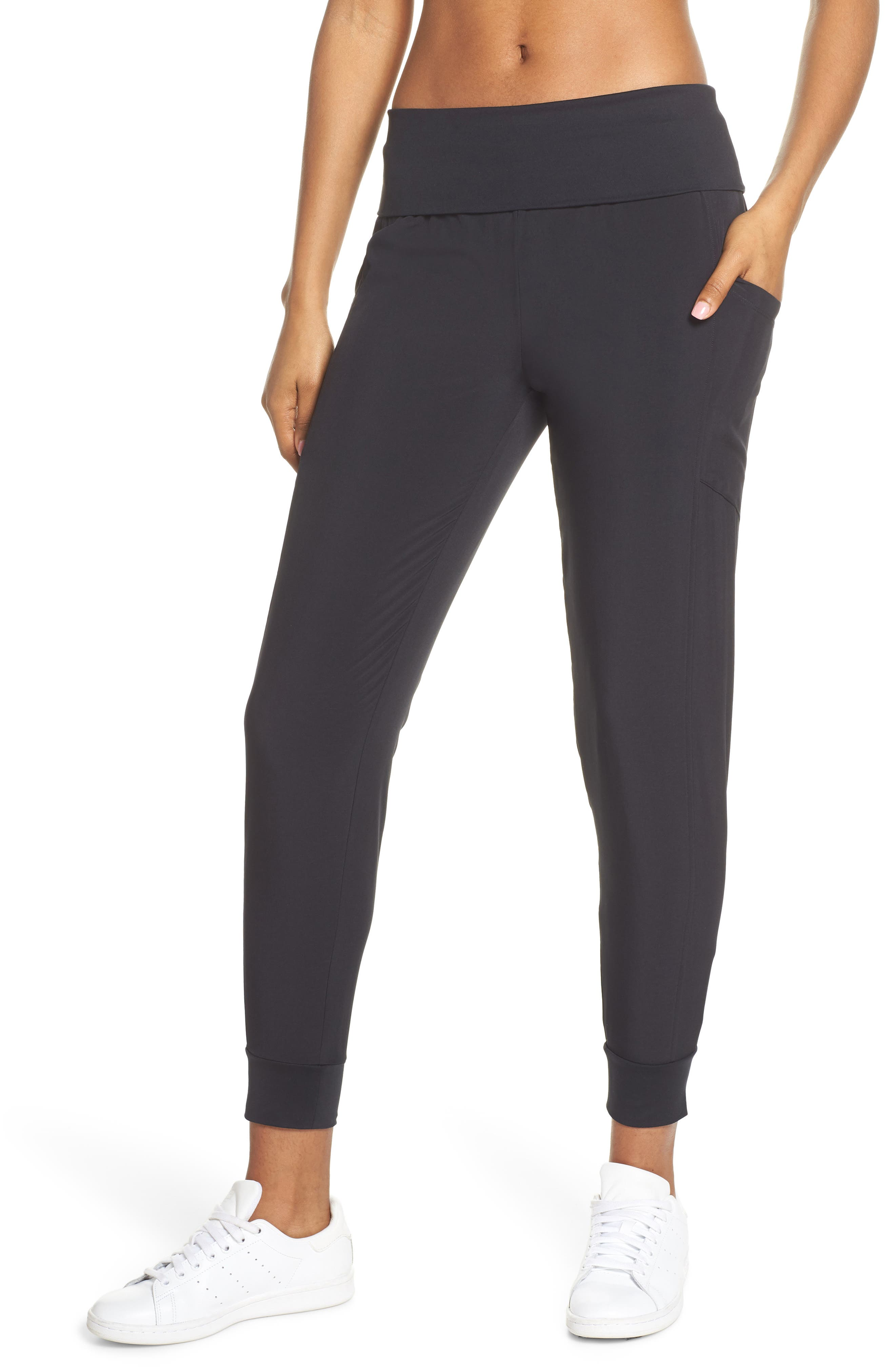 ZELLA, Urban Fold Down Waist Ankle Pants, Main thumbnail 1, color, BLACK