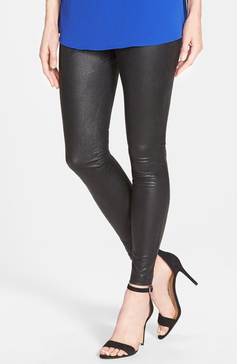 Python Texture Coated Leatherette Leggings