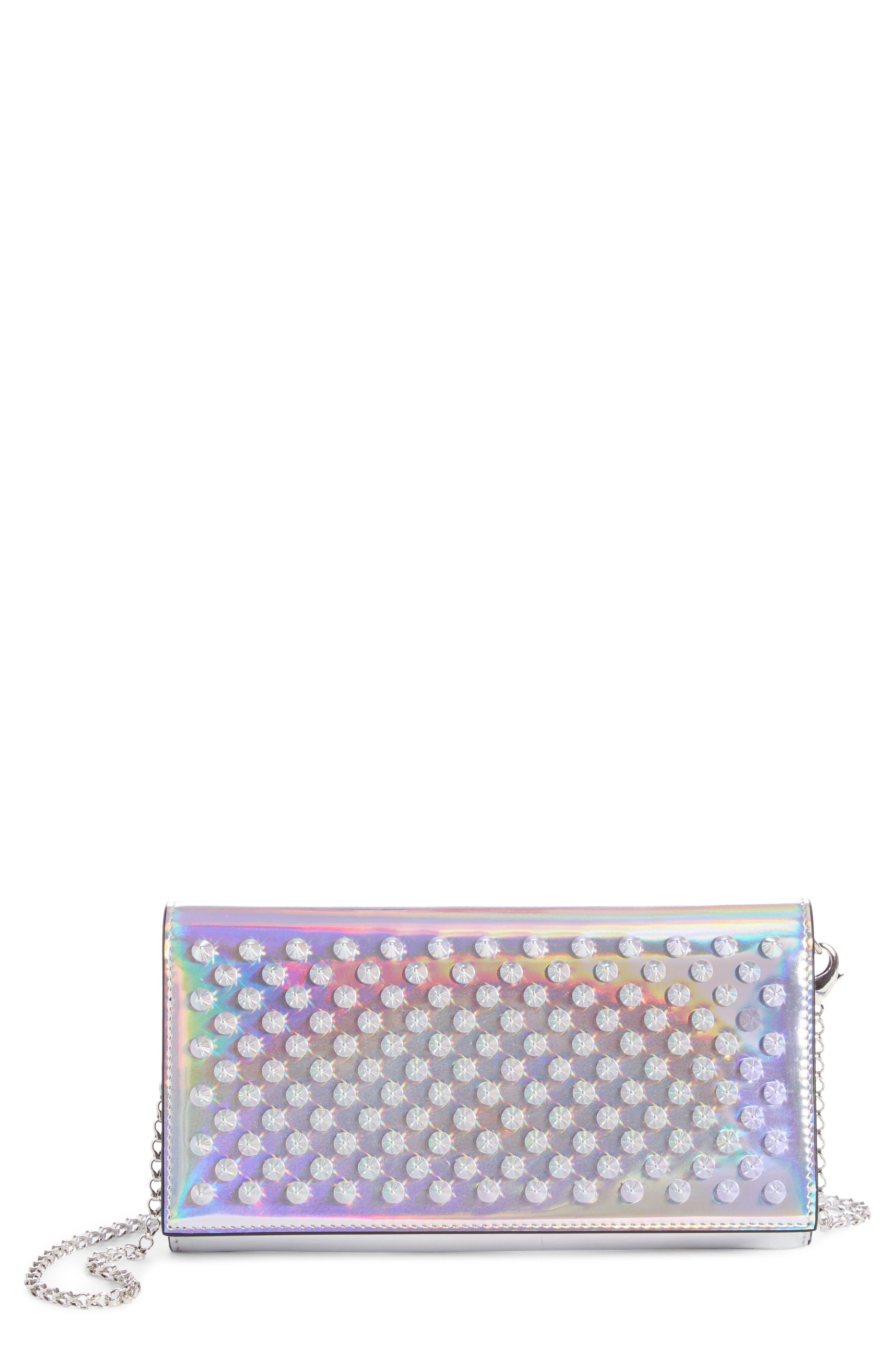 CHRISTIAN LOUBOUTIN, Boudoir Metallic Leather Wallet on a Chain, Main thumbnail 1, color, SILVER/ SILVER AB