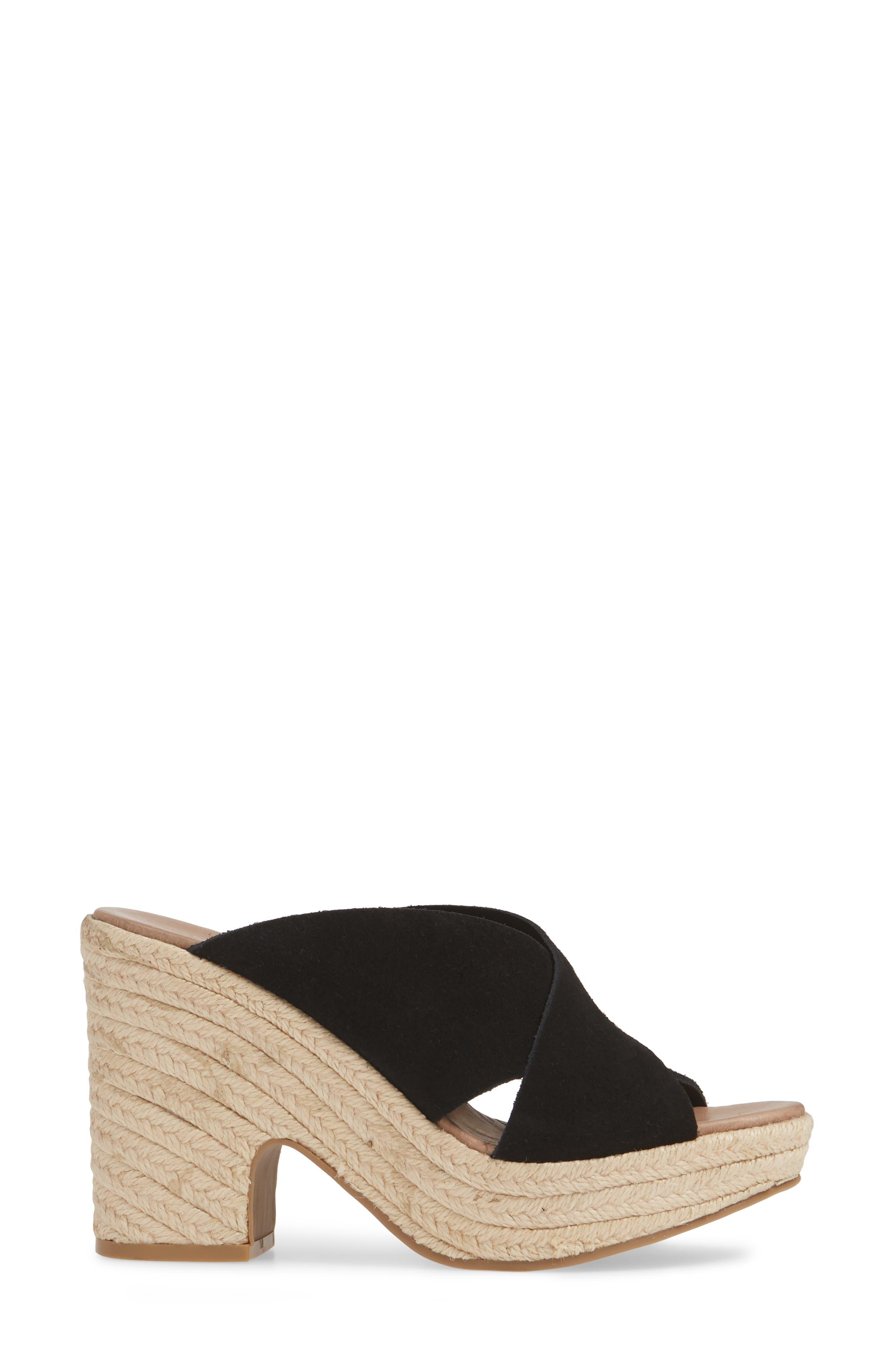 CHINESE LAUNDRY, Quay Platform Sandal, Alternate thumbnail 3, color, BLACK SUEDE