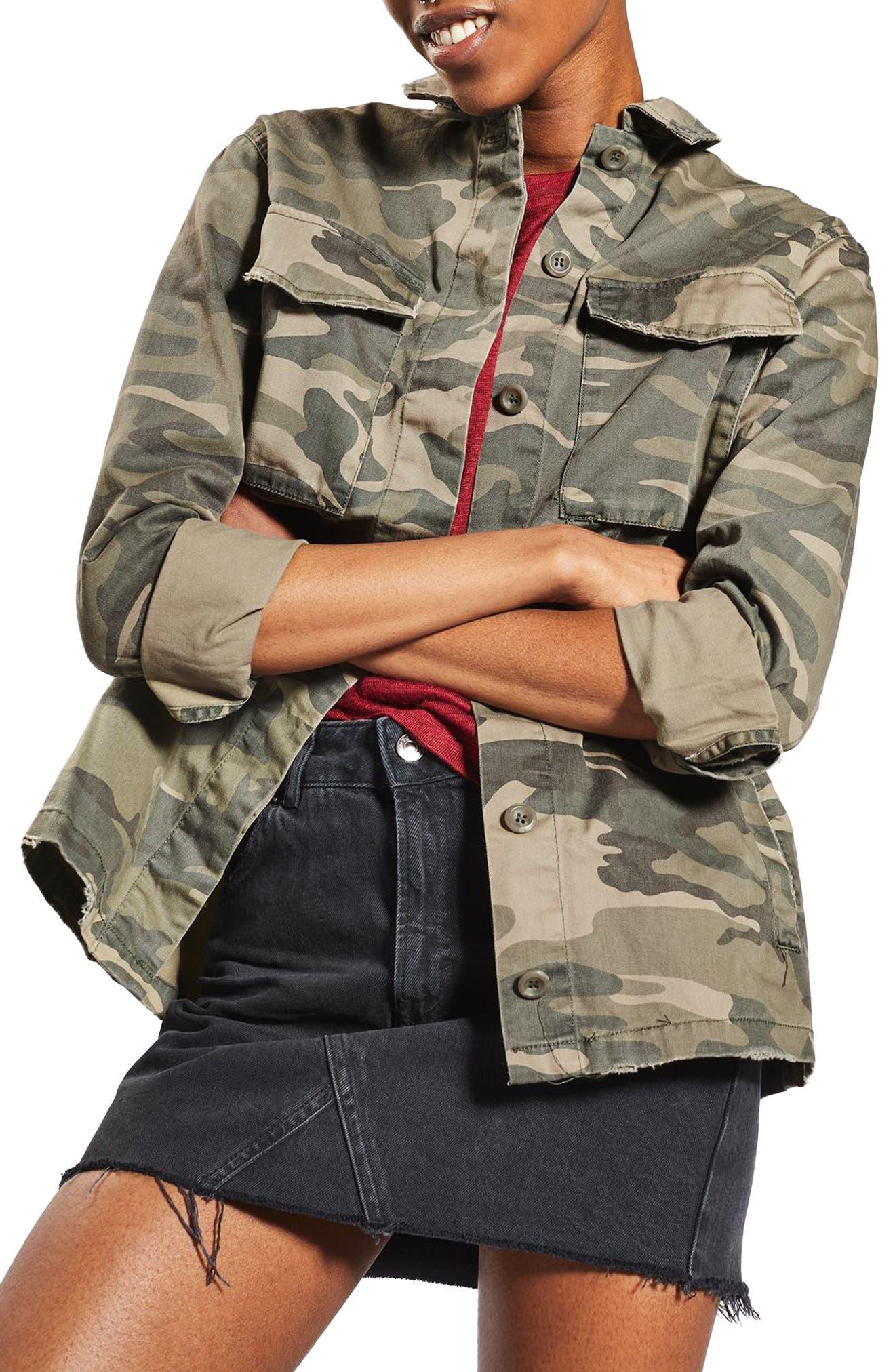 TOPSHOP, Sampson Camo Shirt Jacket, Main thumbnail 1, color, 300