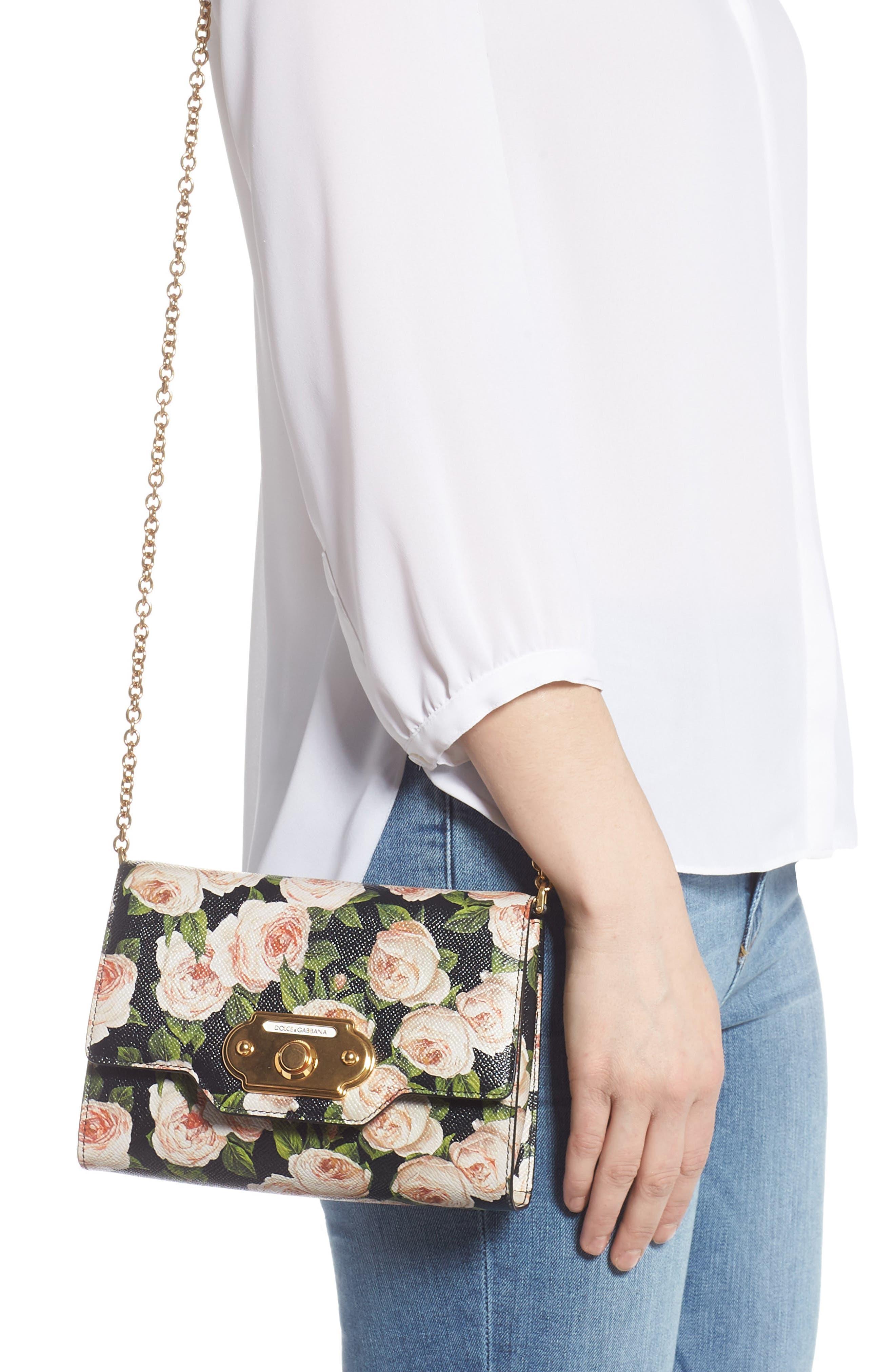 DOLCE&GABBANA, Rose Print Calfskin Leather Shoulder Bag, Alternate thumbnail 2, color, NERO/ ROSE