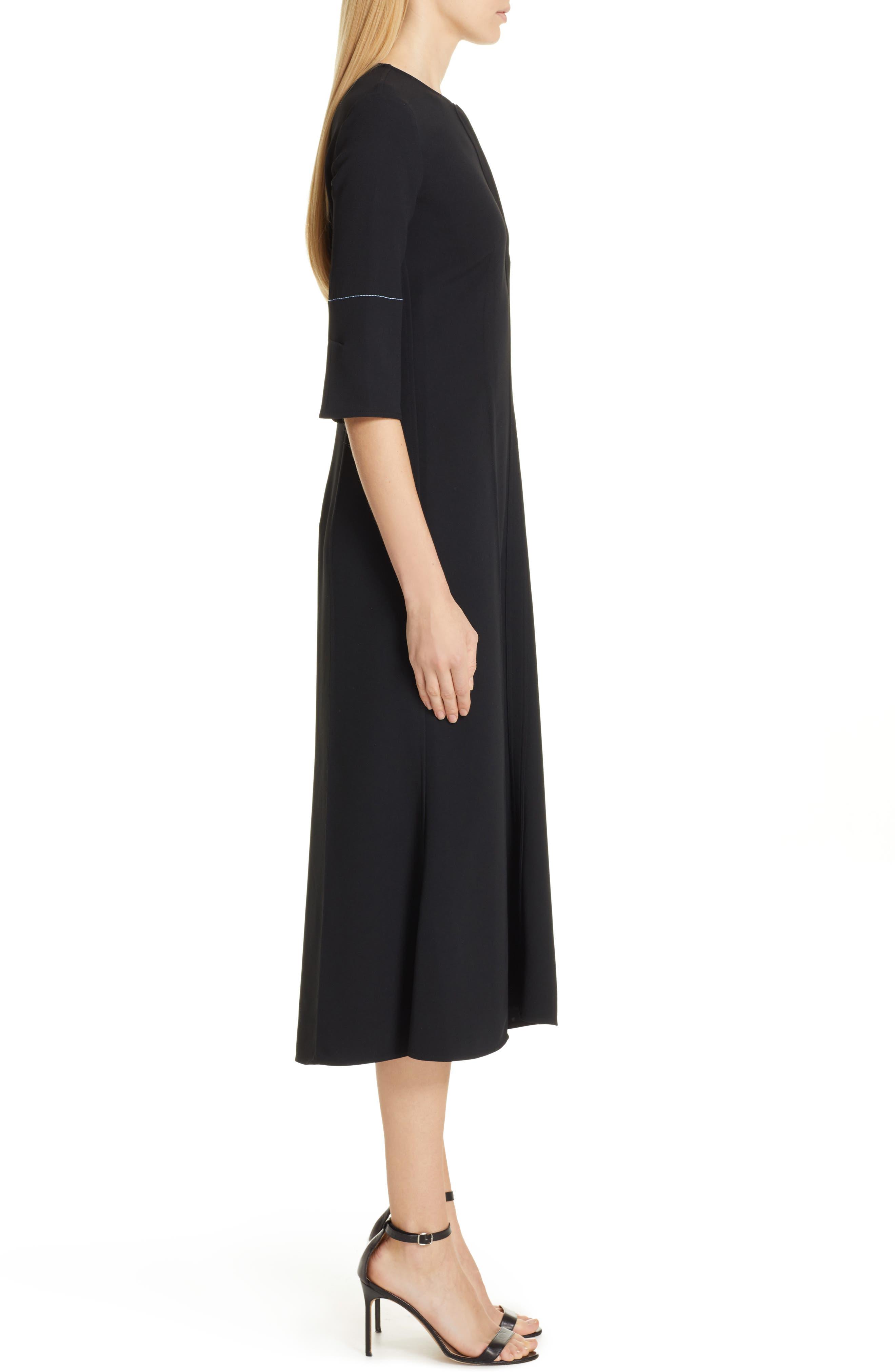 VICTORIA BECKHAM, Contrast Stitch Crepe Dress, Alternate thumbnail 4, color, BLACK