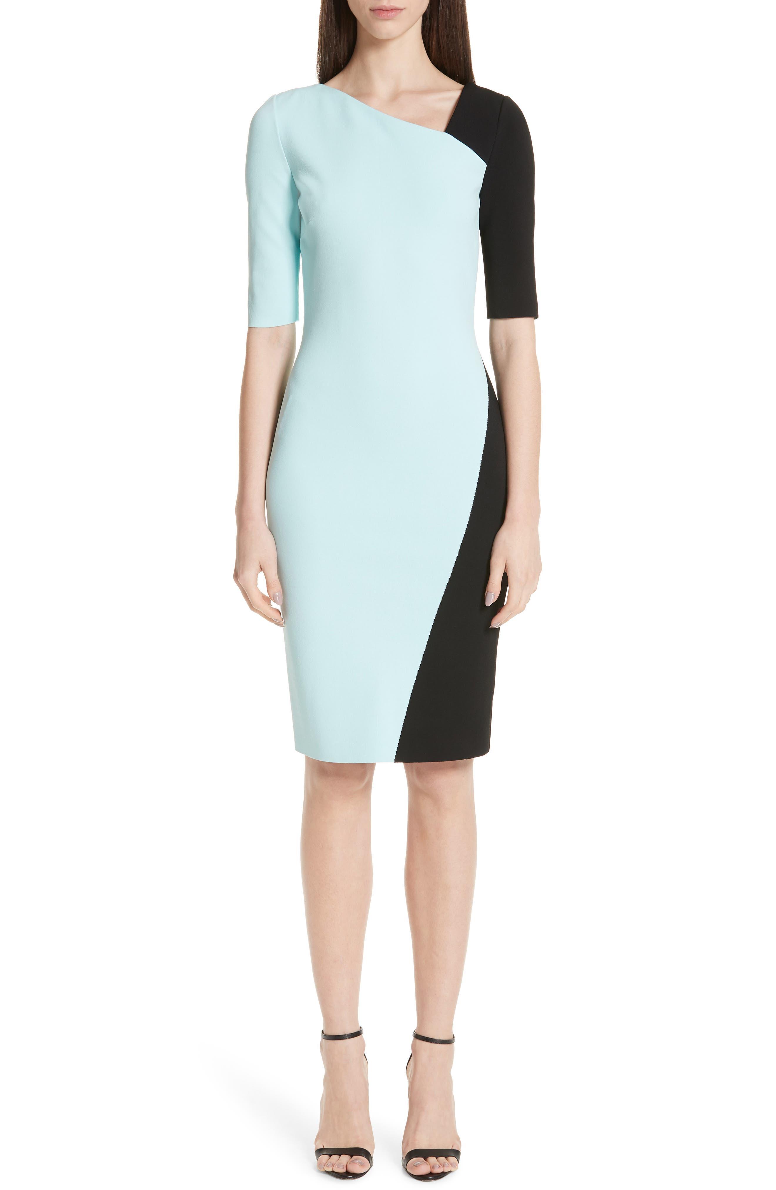 ST. JOHN COLLECTION, Luxe Sculpture Knit Dress, Main thumbnail 1, color, SEAFOAM/ CAVIAR