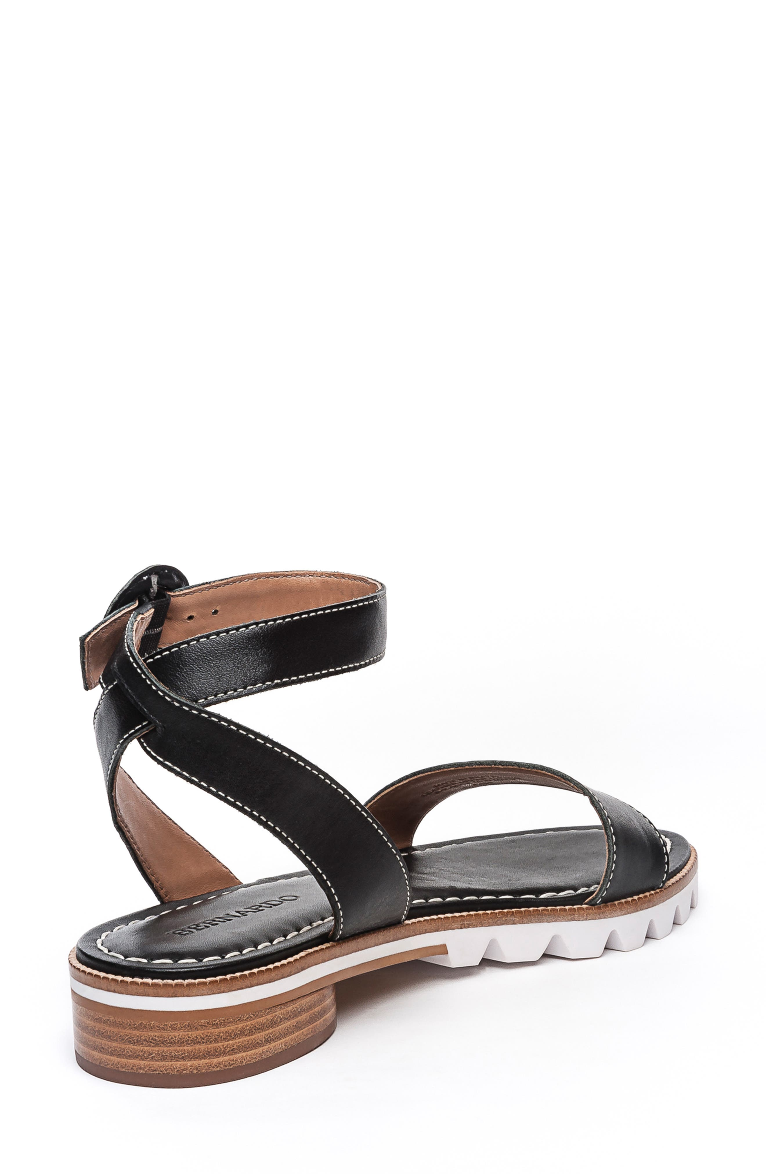 BERNARDO, Footwear Alexis Ankle Strap Sandal, Alternate thumbnail 2, color, BLACK