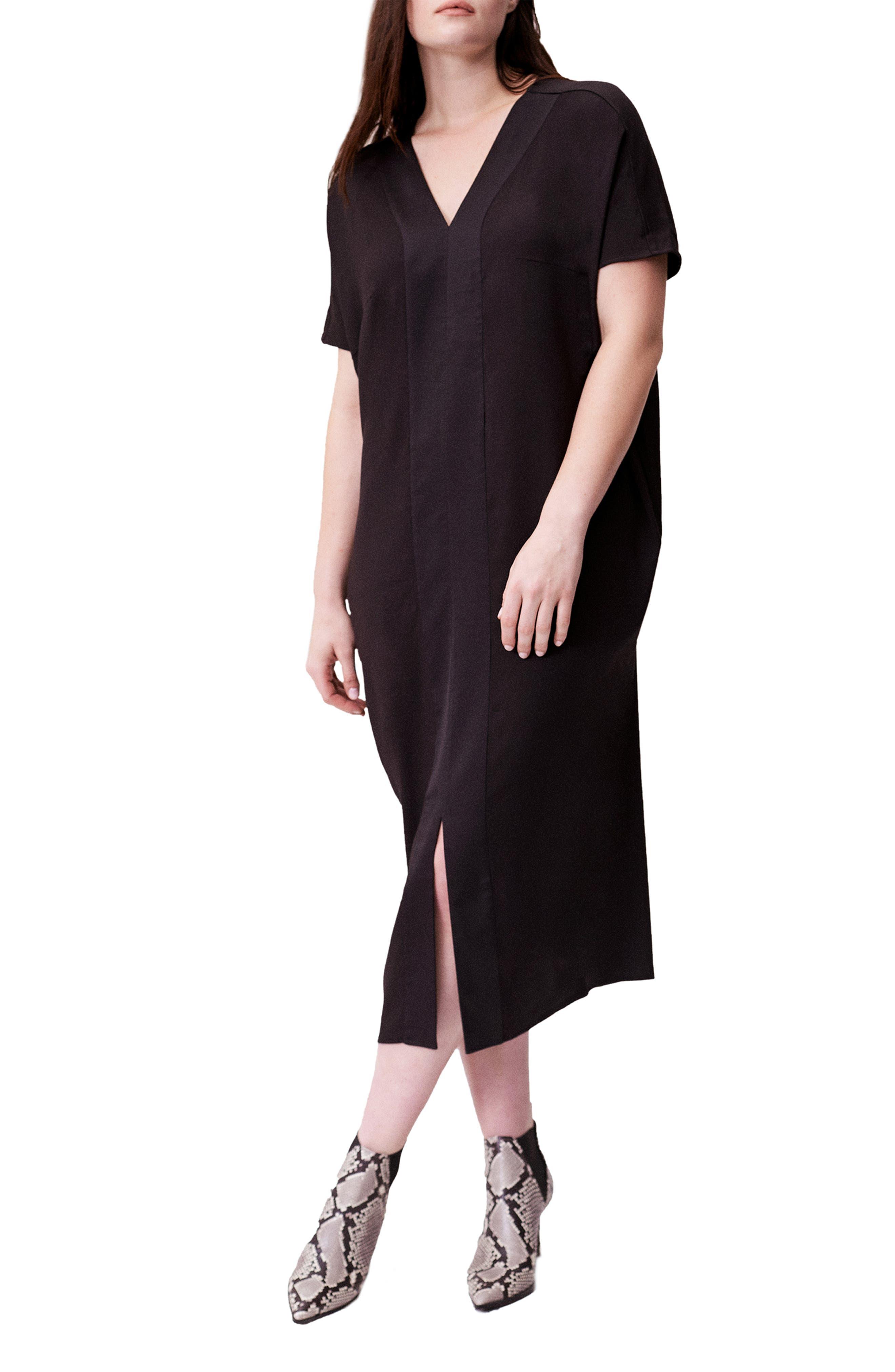 UNIVERSAL STANDARD, Crosby Caftan Dress, Alternate thumbnail 4, color, BLACK