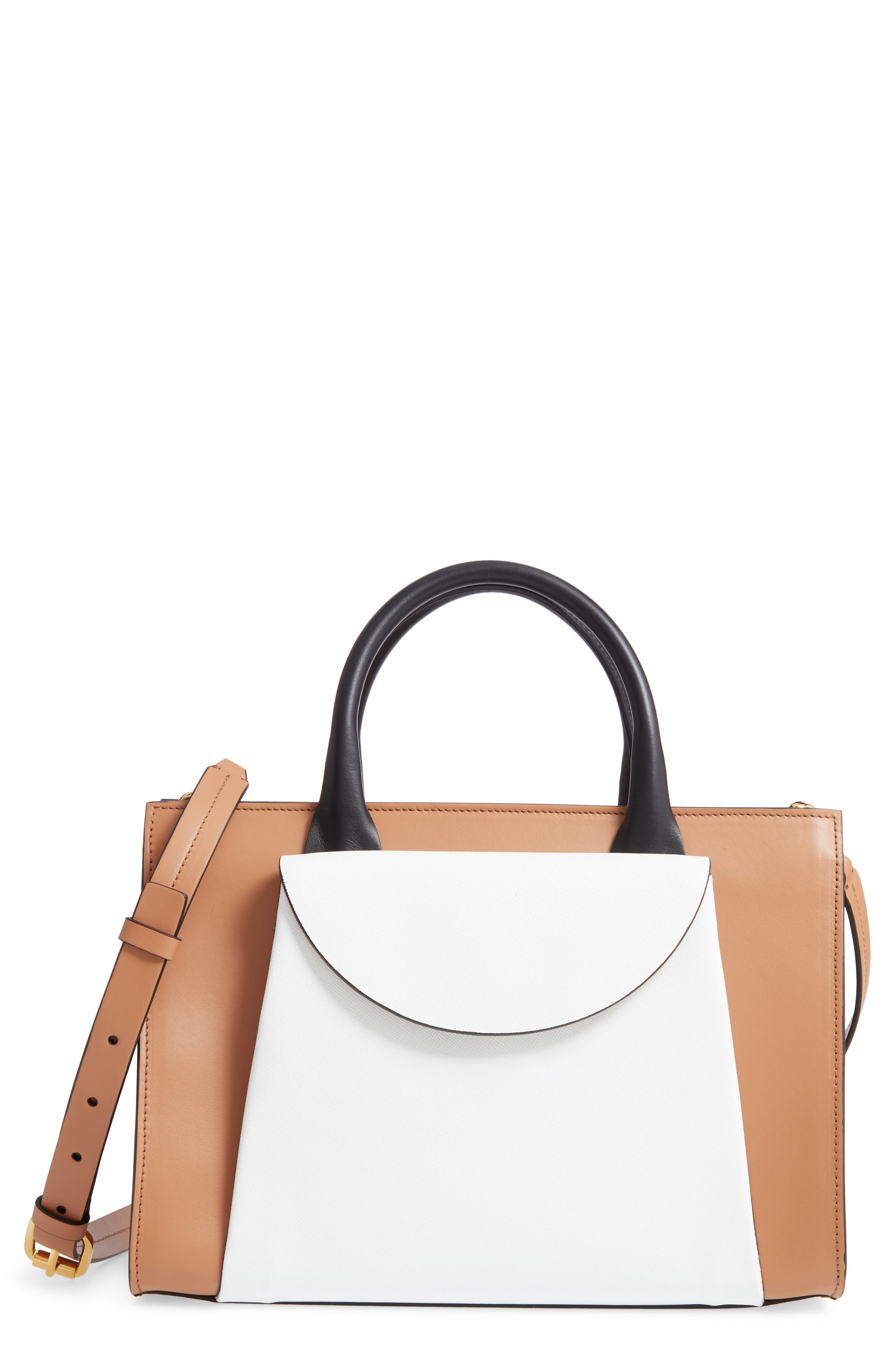 MARNI Medium Law Colorblock Top Handle Satchel, Main, color, POMPEII/ LIMESTONE/ BLACK