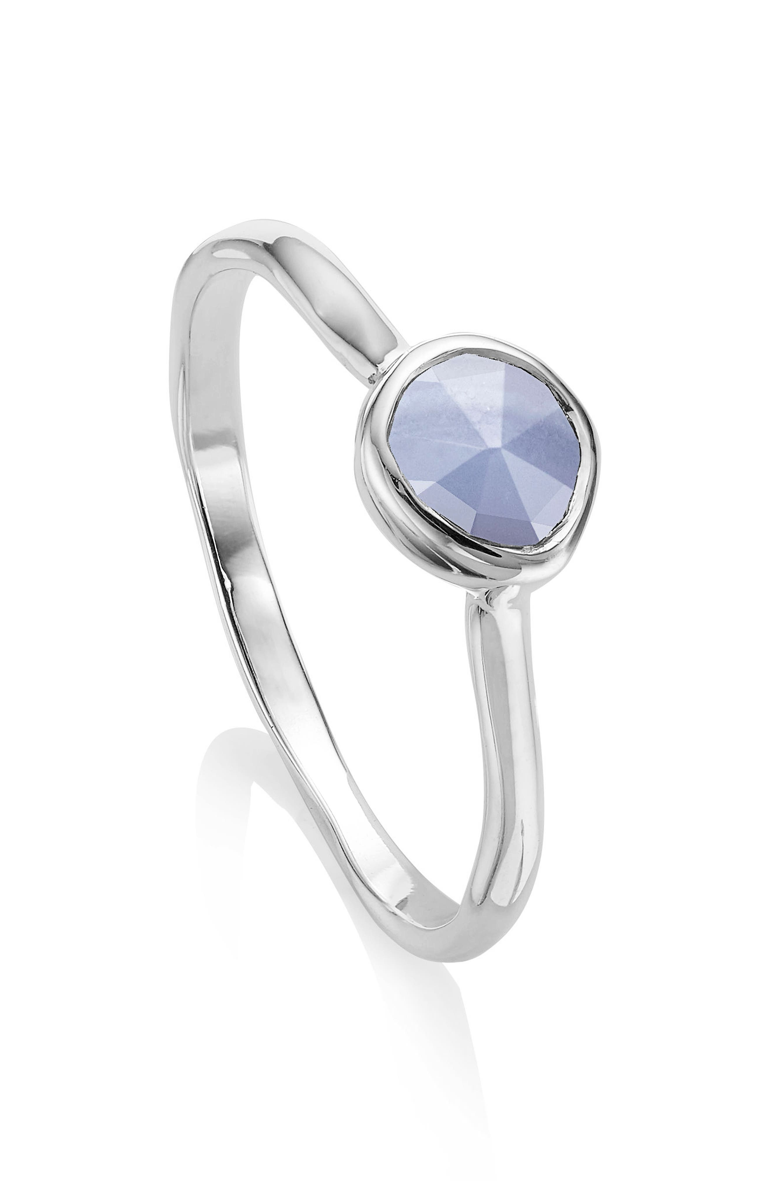 MONICA VINADER, Siren Small Stacking Ring, Main thumbnail 1, color, SILVER/ BLUE LACE AGATE