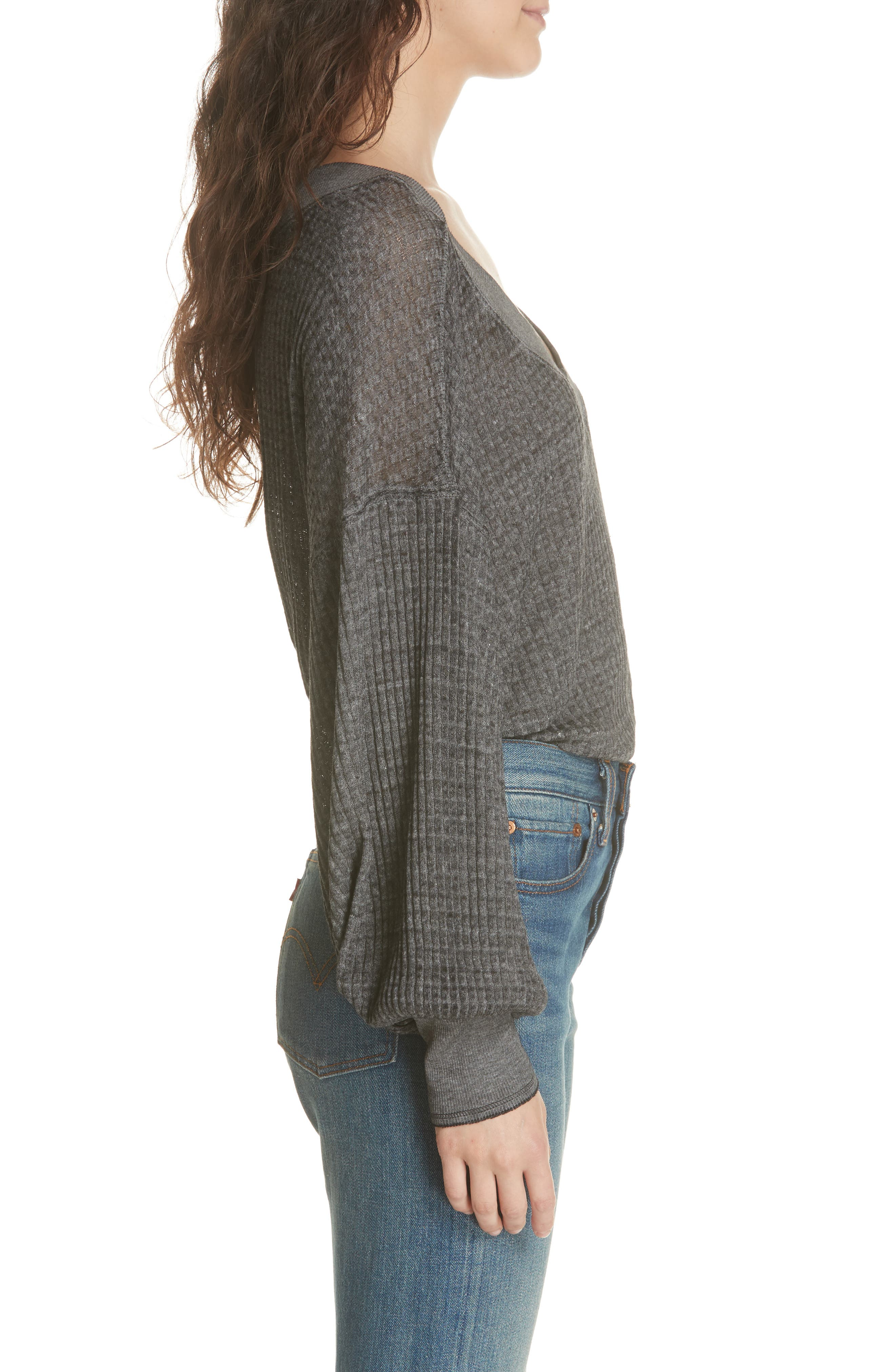 FREE PEOPLE, We the Free by Free People South Side Thermal Top, Alternate thumbnail 3, color, BLACK