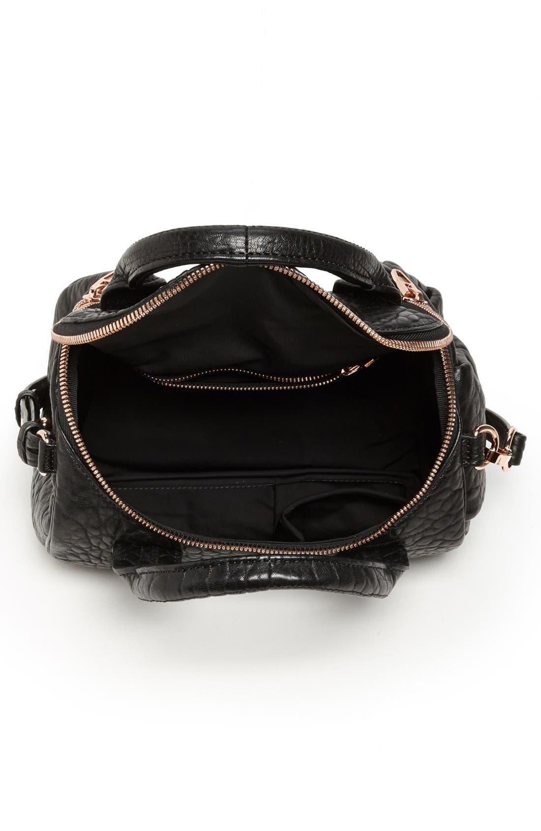 ALEXANDER WANG, 'Rockie - Rose Gold' Leather Crossbody Satchel, Alternate thumbnail 3, color, BLACK ROSE GLD HRDWRE