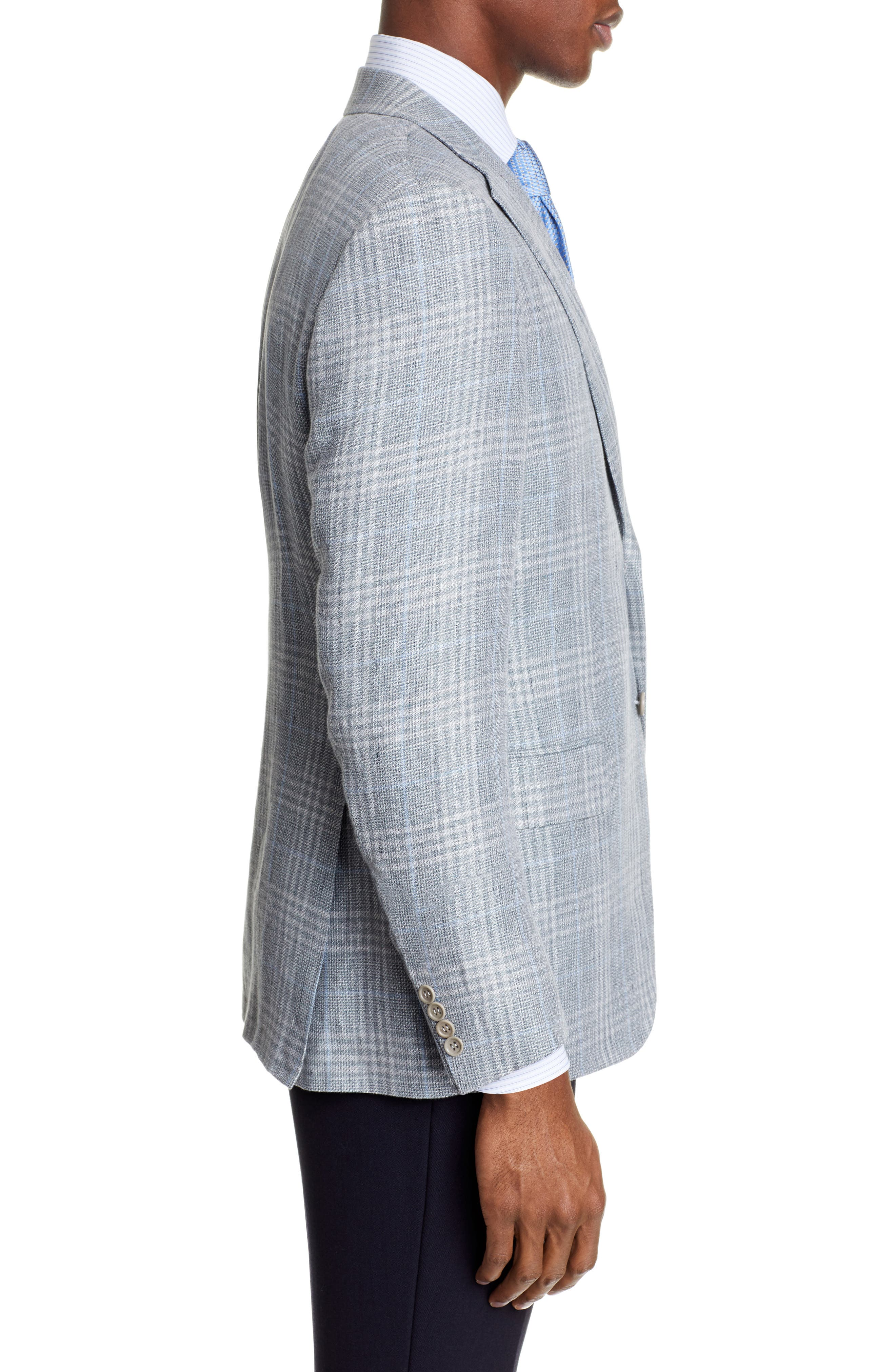 CANALI, Sienna Classic Fit Plaid Linen & Wool Sport Coat, Alternate thumbnail 3, color, LIGHT GREEN