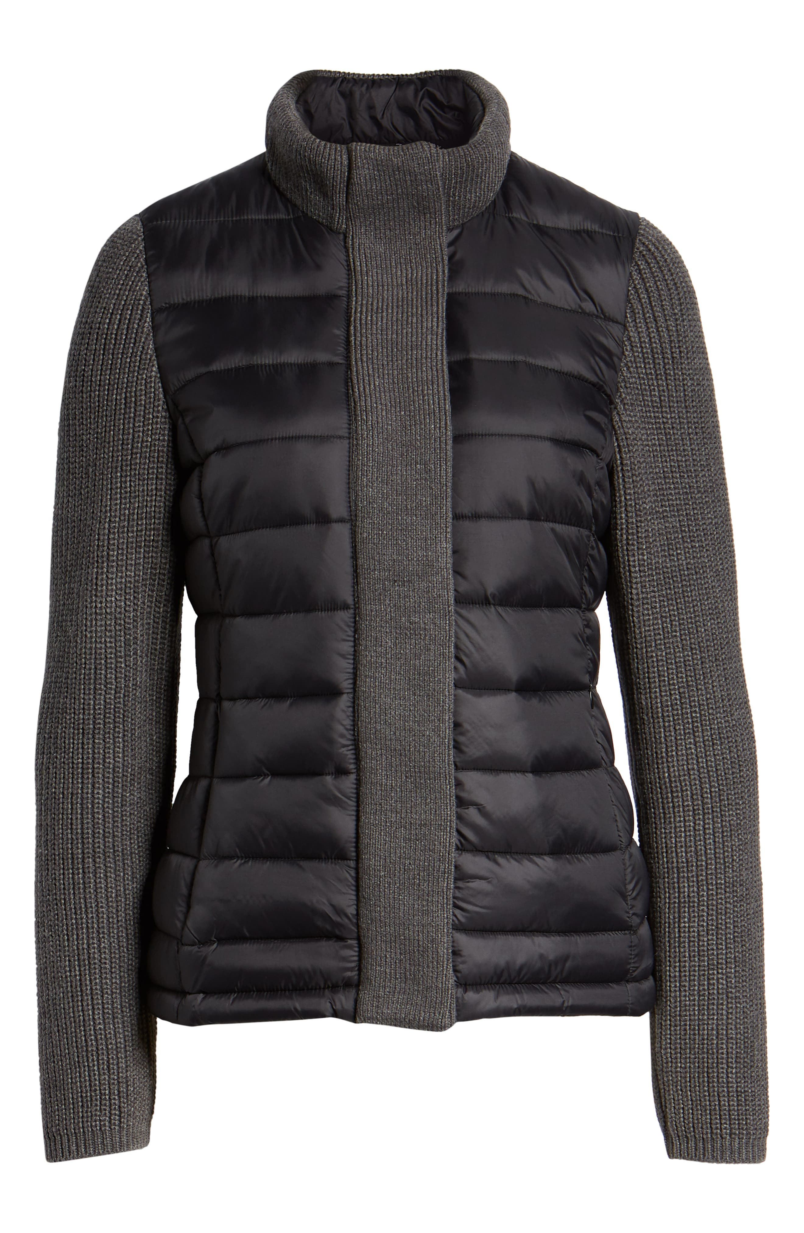 MARC NEW YORK, Mark New York Packable Knit Trim Puffer Jacket, Alternate thumbnail 6, color, BLACK/ GREY
