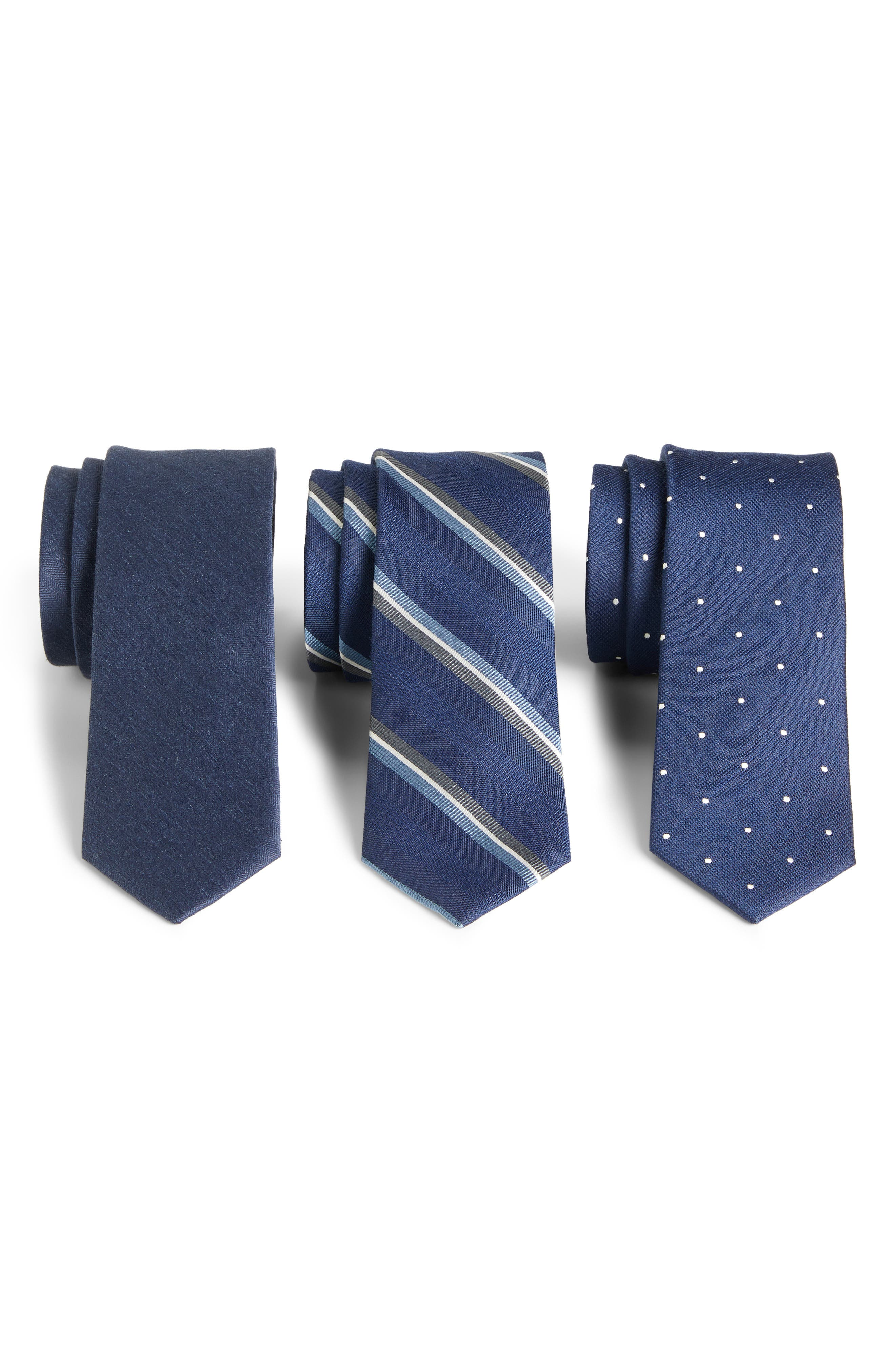 THE TIE BAR, 3-Pack Navy Tie Set, Main thumbnail 1, color, NAVY