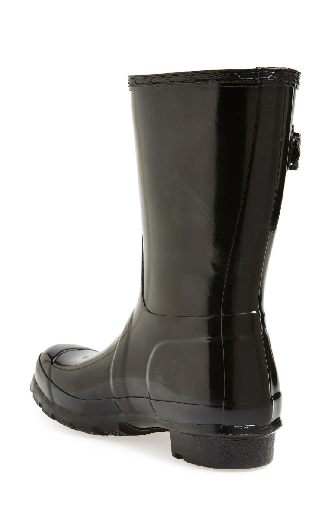 HUNTER, Original Short Gloss Waterproof Rain Boot, Alternate thumbnail 5, color, BLACK
