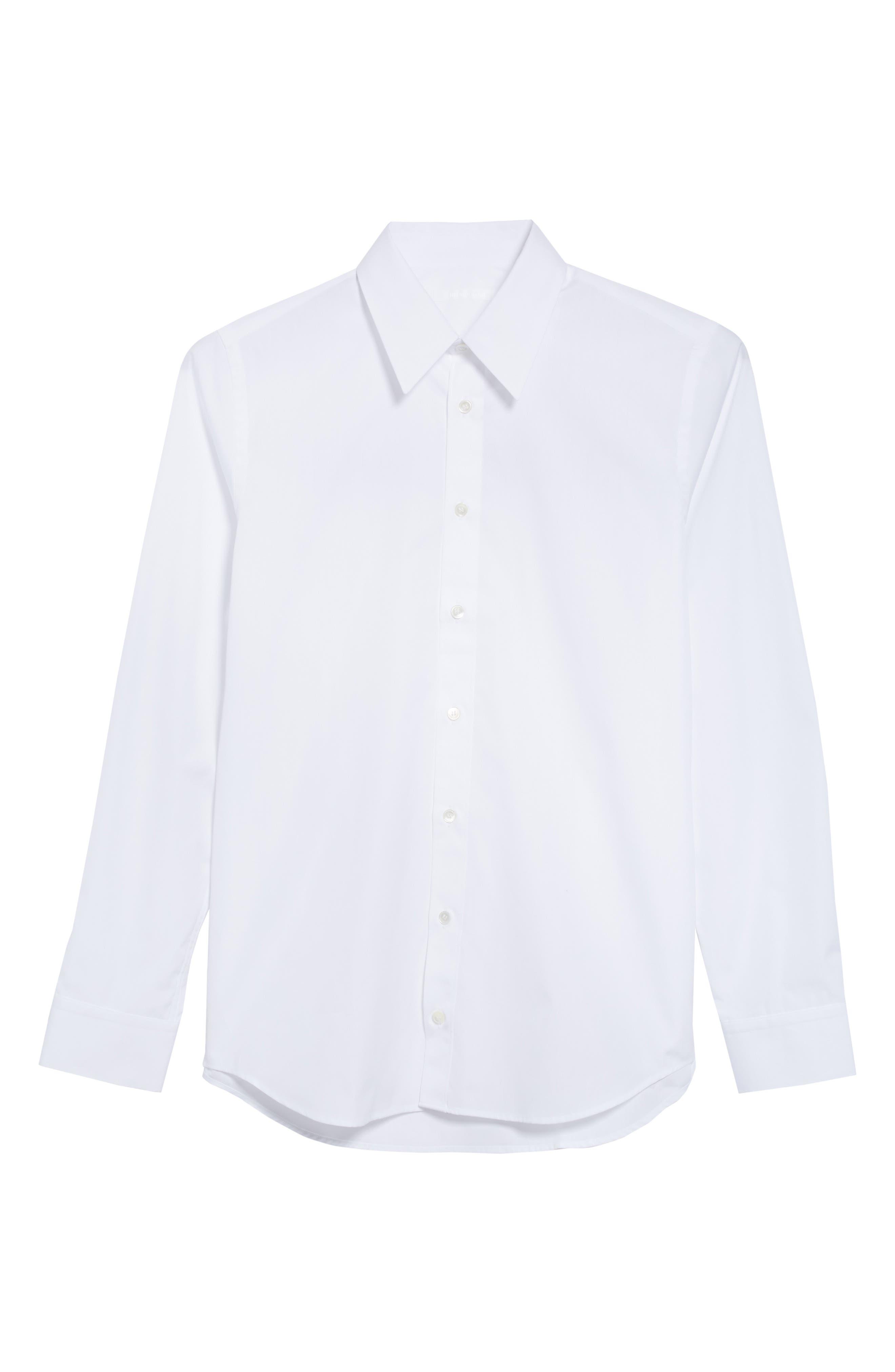 HELMUT LANG, Logo Back Long Sleeve Woven Shirt, Alternate thumbnail 6, color, WHITE AND BLACK