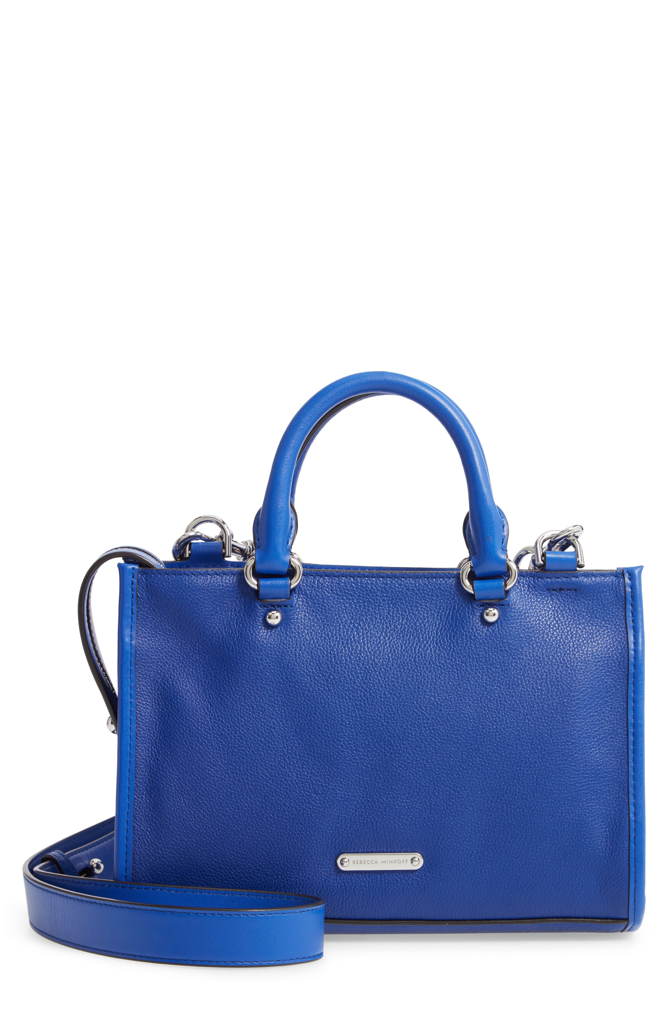 REBECCA MINKOFF, Micro Bedford Leather Satchel, Main thumbnail 1, color, BRIGHT BLUE