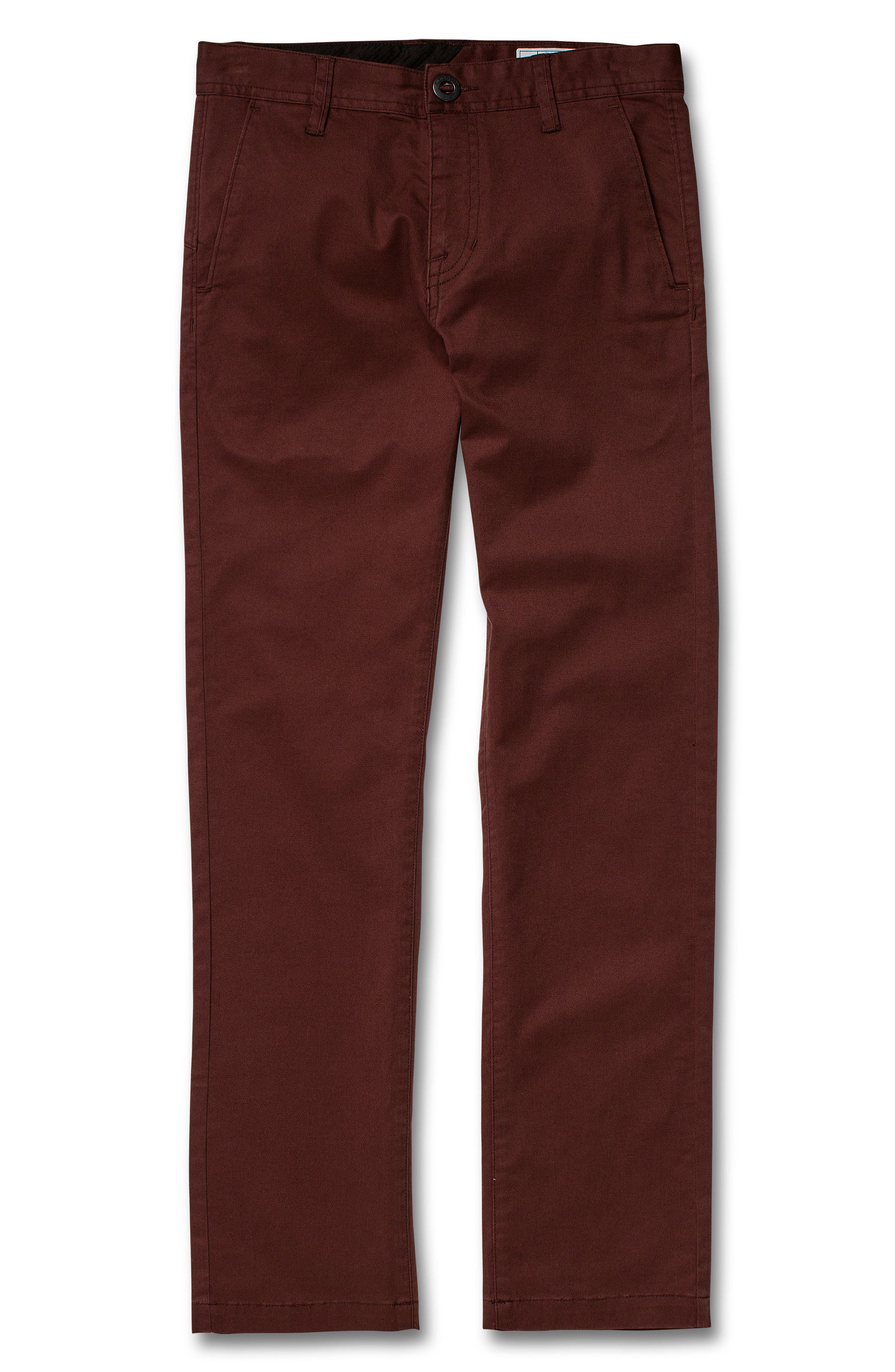 VOLCOM, Slim Fit Stretch Chinos, Main thumbnail 1, color, BROWN