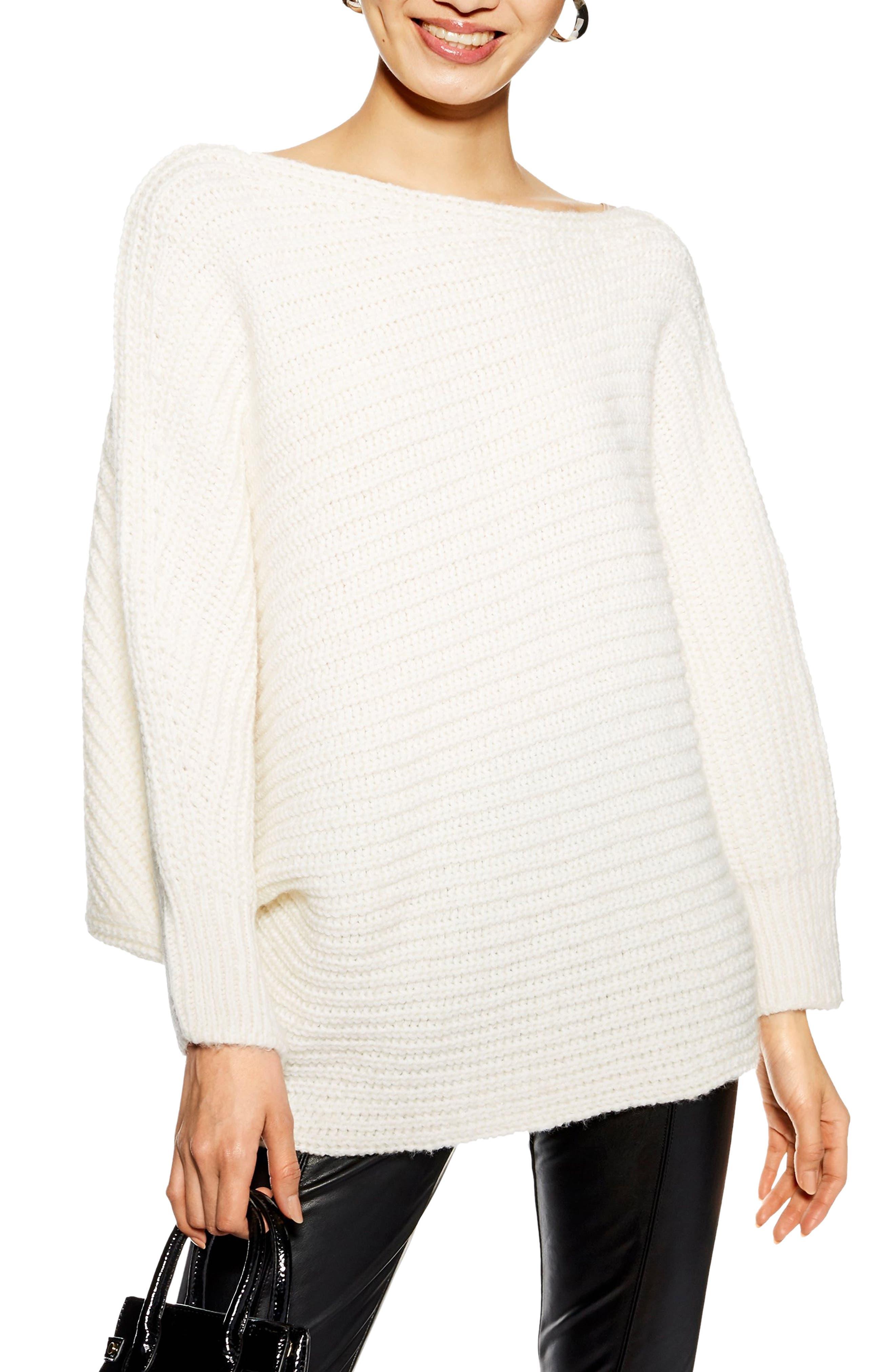 TOPSHOP, Drape Tunic Sweater, Main thumbnail 1, color, IVORY