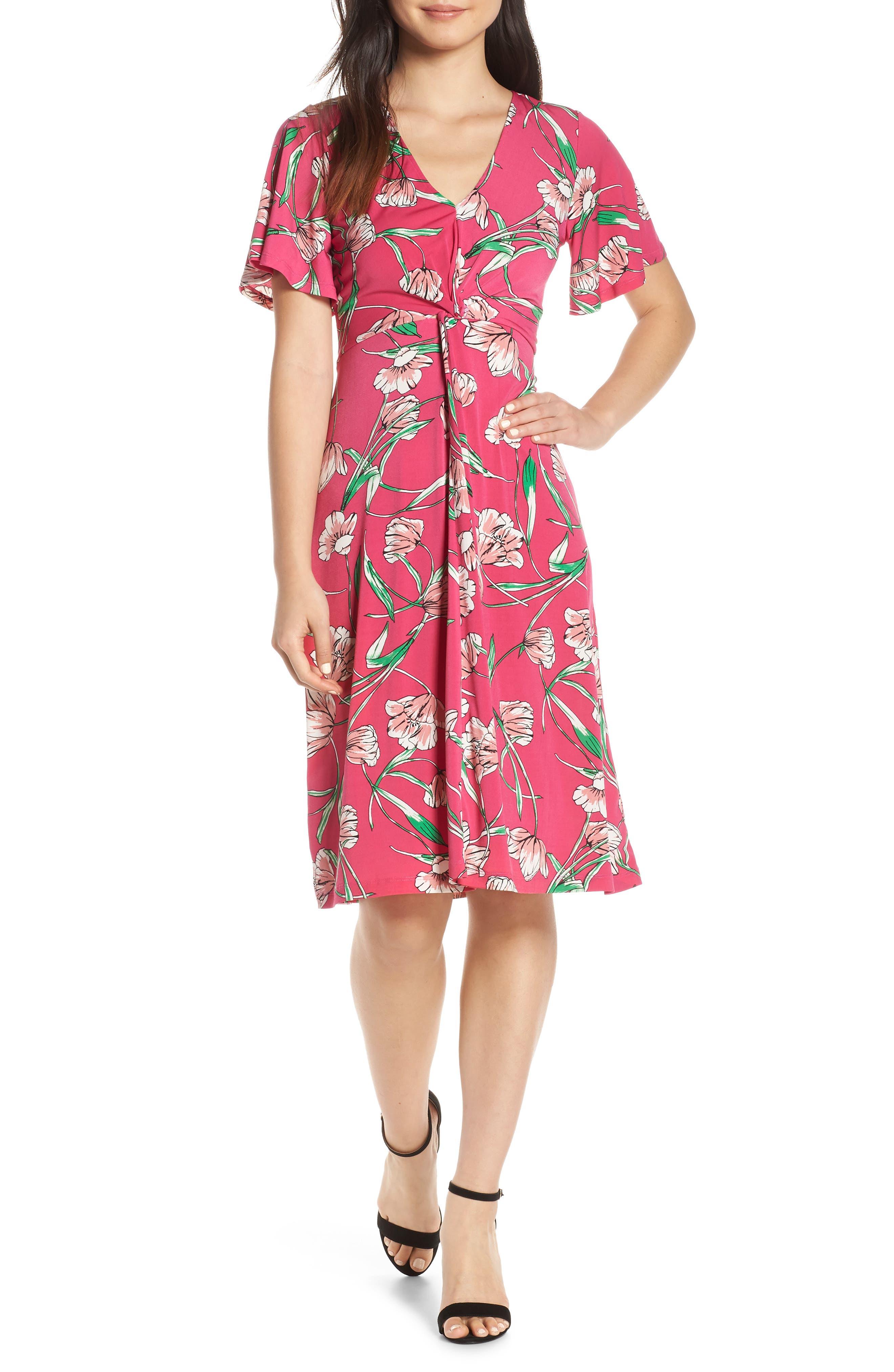 Leota Betty Flutter Sleeve Jersey Dress, Pink