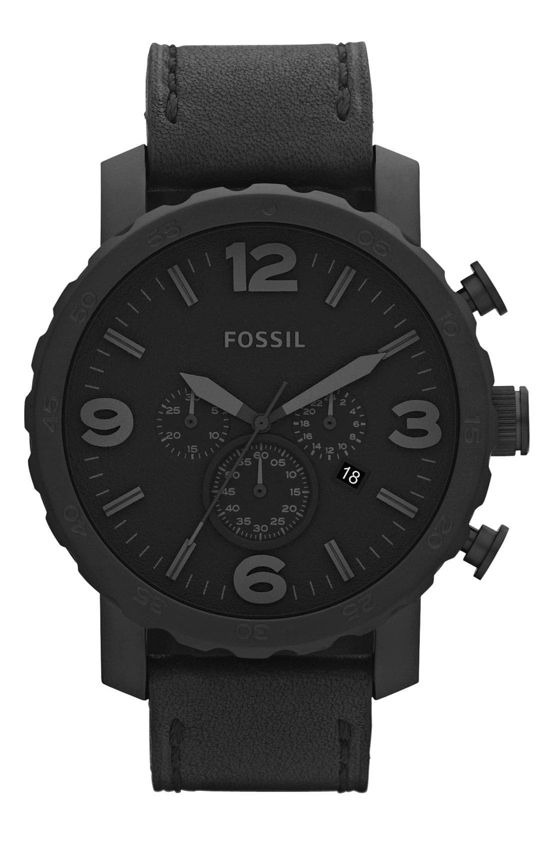 FOSSIL, 'Nate IP' Chronograph Watch, 50mm, Main thumbnail 1, color, 001
