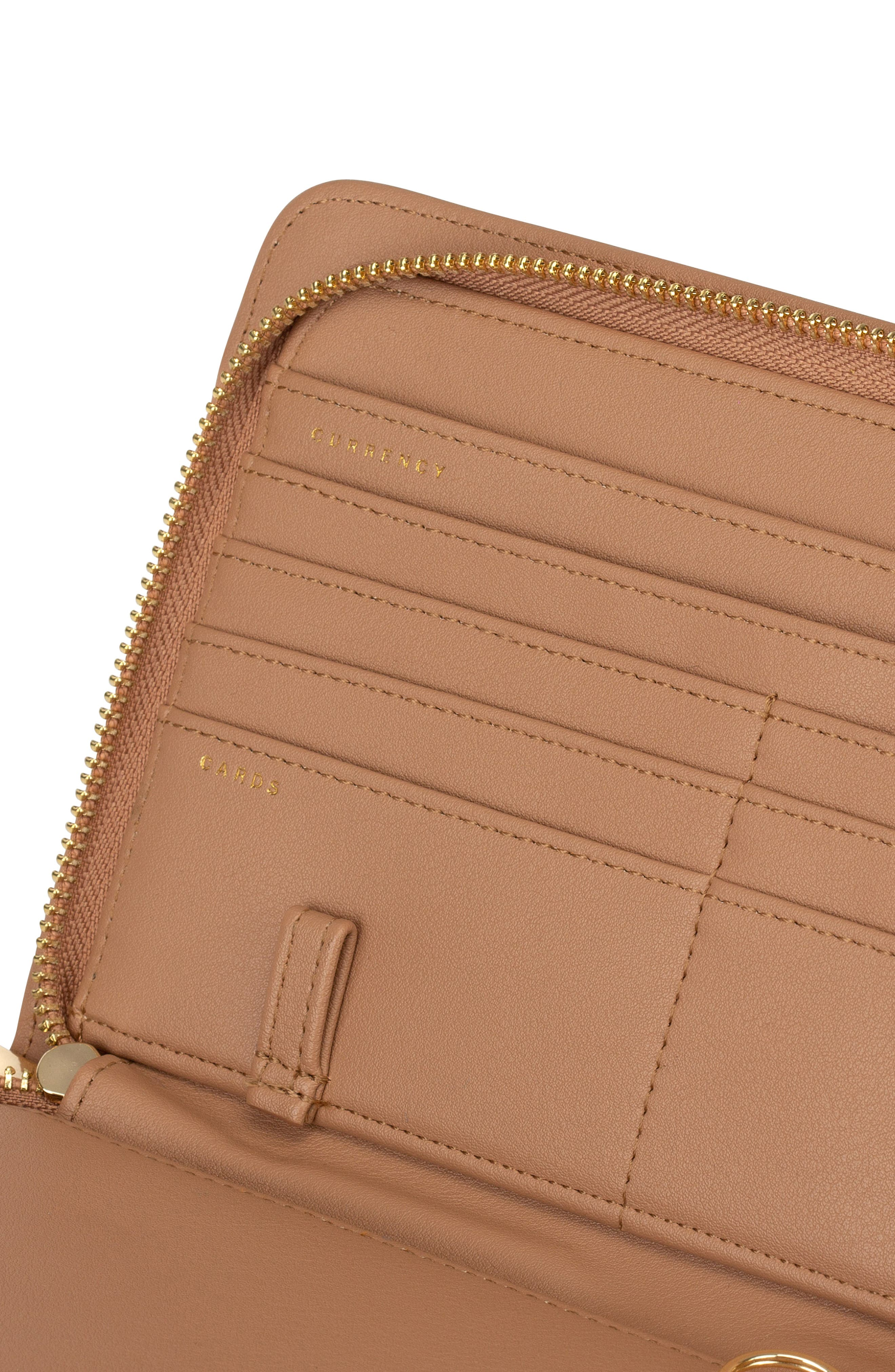 CALPAK, Faux Leather RFID Travel Wallet, Alternate thumbnail 6, color, CARAMEL