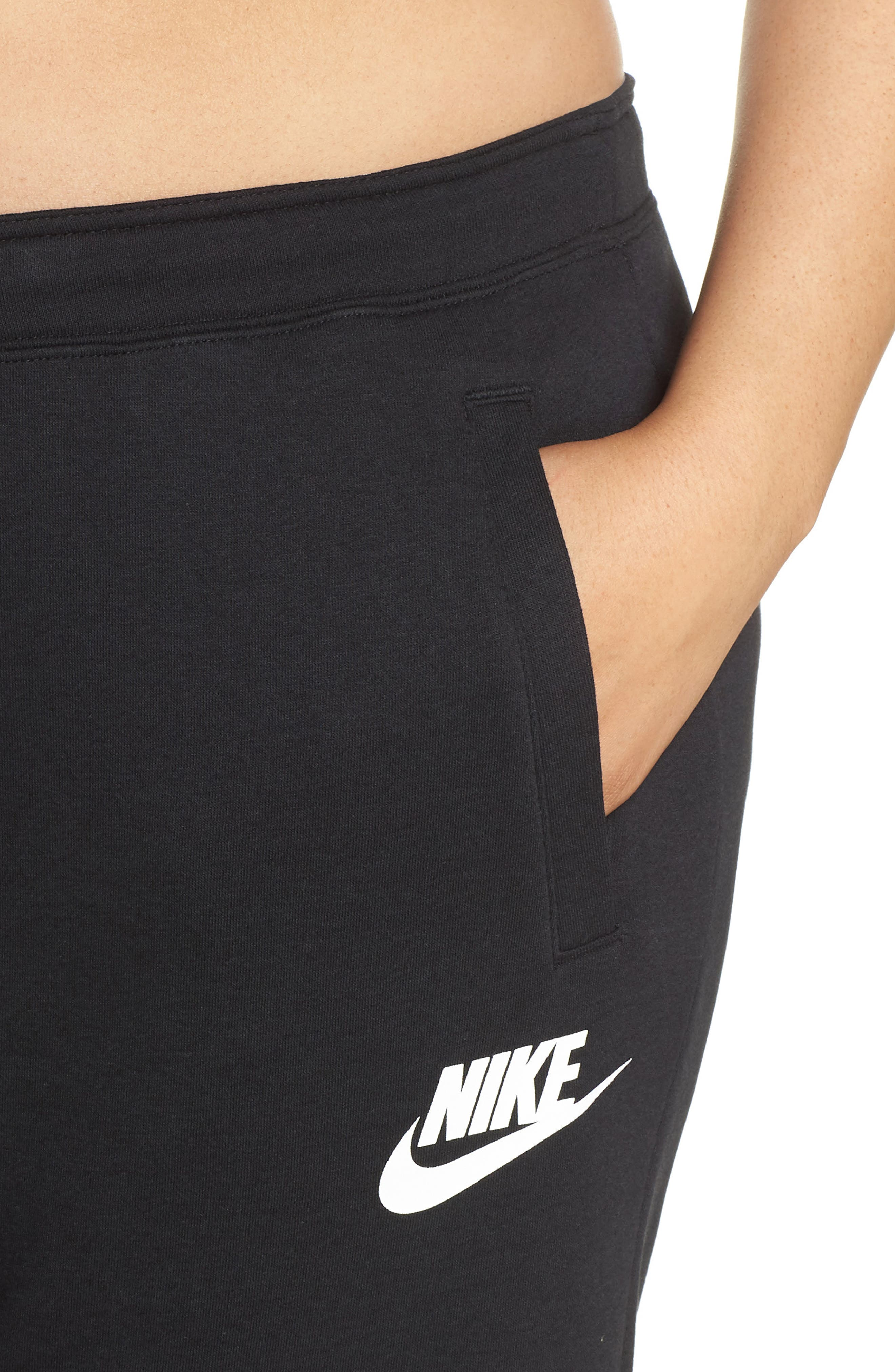 NIKE, Sportswear Rally High Rise Jogger Pants, Alternate thumbnail 5, color, BLACK/ BLACK/ WHITE