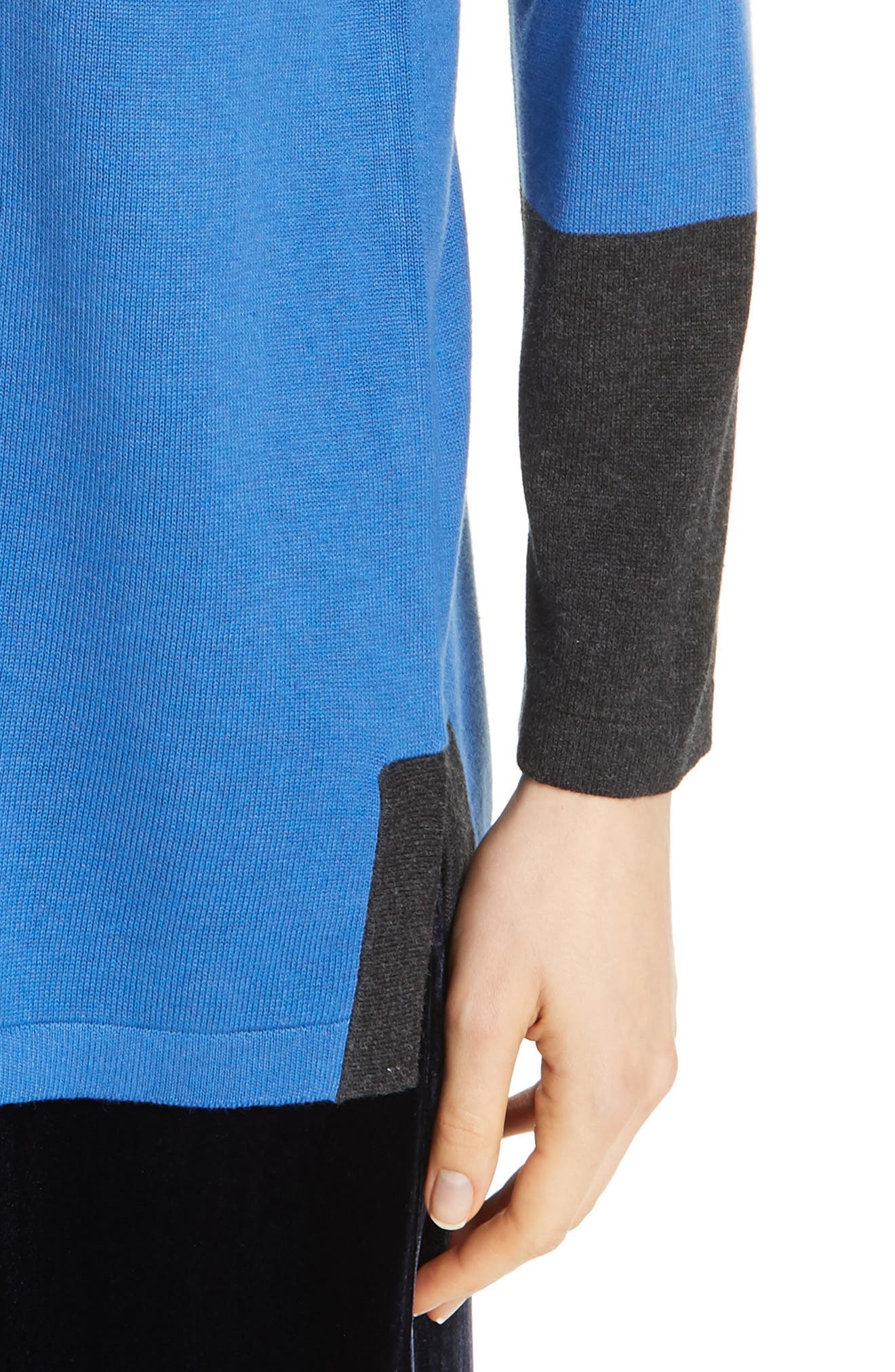 EILEEN FISHER, Colorblock Sleeve Tunic, Alternate thumbnail 4, color, 400