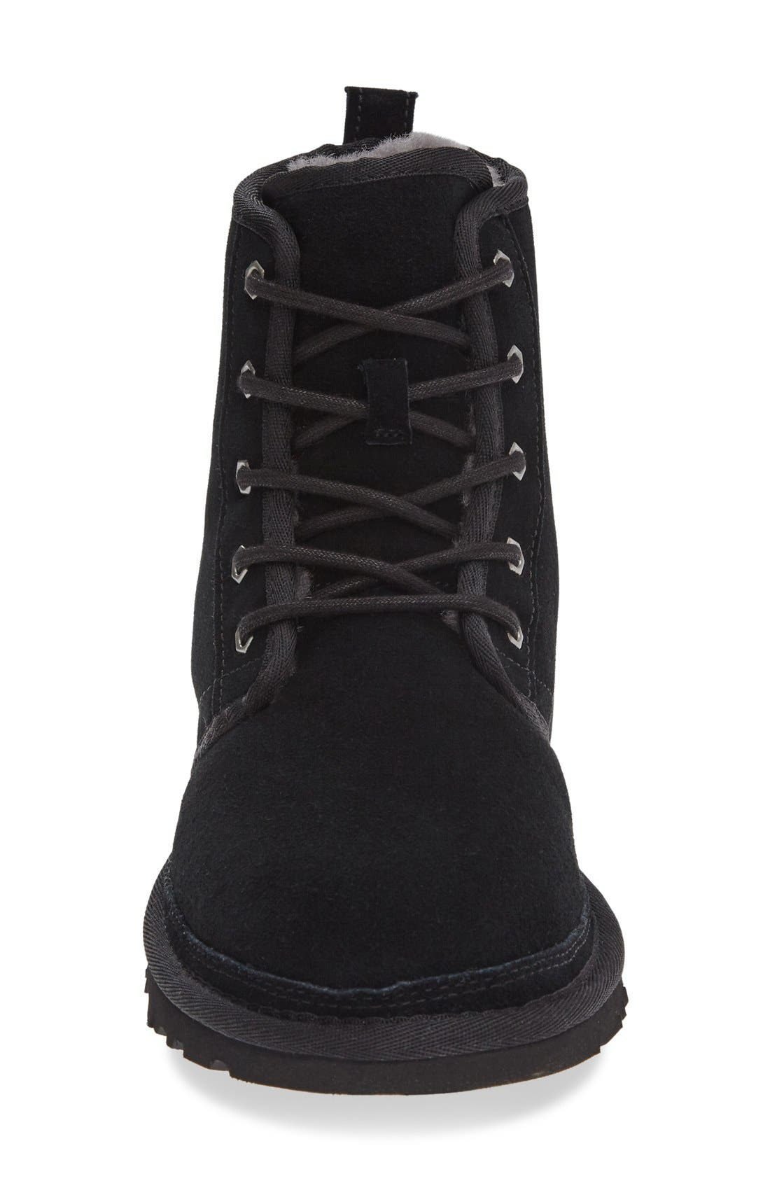 UGG<SUP>®</SUP>, Harkley Lace-Up Boot, Alternate thumbnail 3, color, BLACK