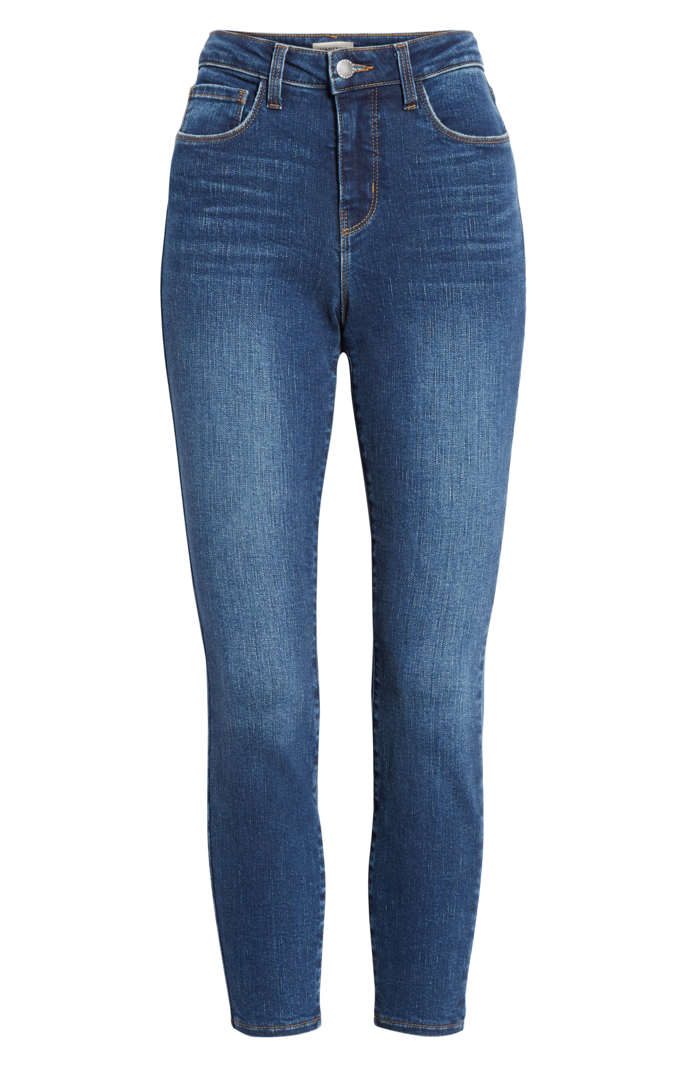 L'AGENCE, Margot Crop Skinny Jeans, Alternate thumbnail 7, color, TUSCAN