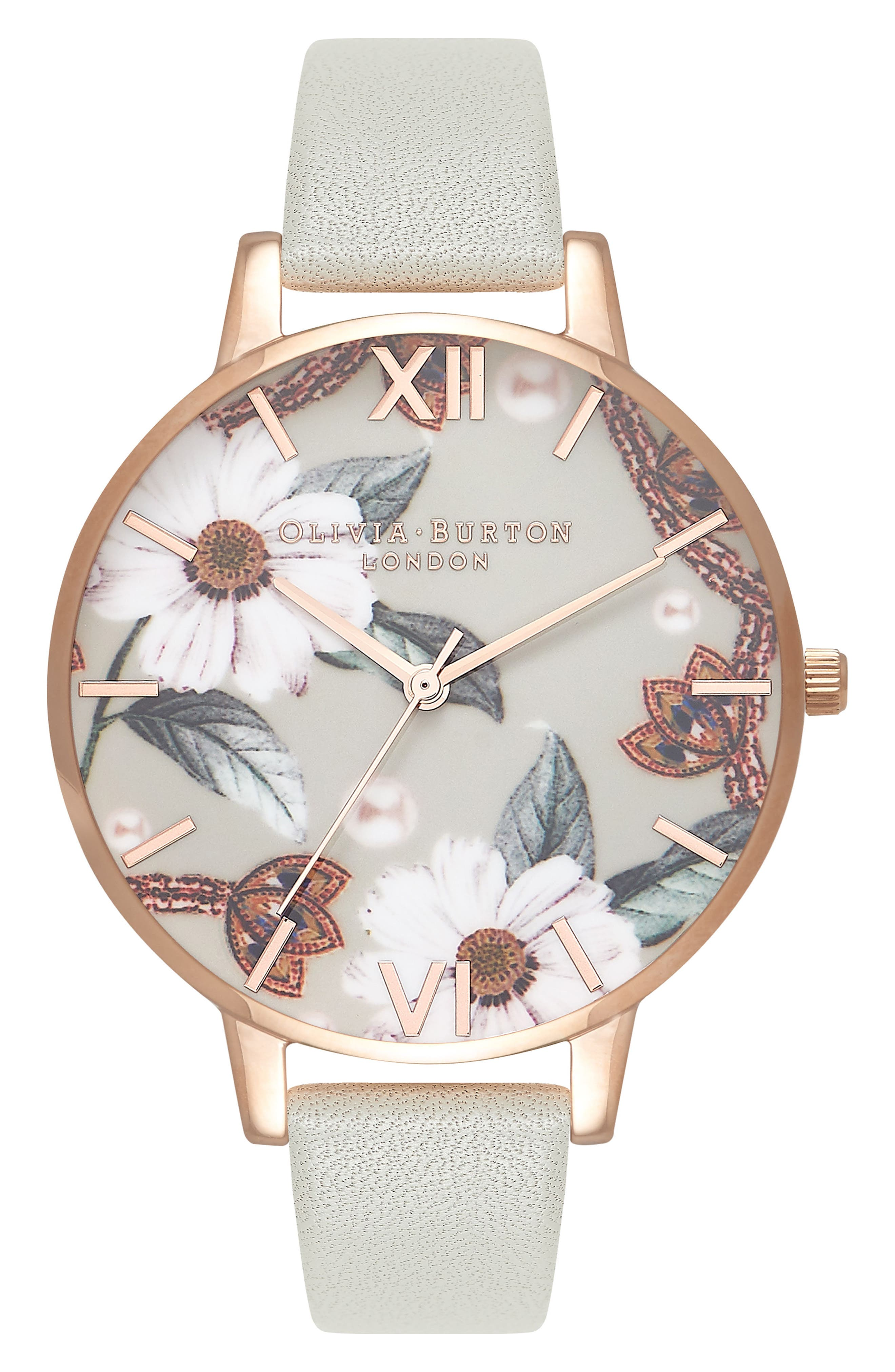 OLIVIA BURTON, Bejewelled Leather Strap Watch, 38mm, Main thumbnail 1, color, GREY/ FLORAL/ ROSE GOLD