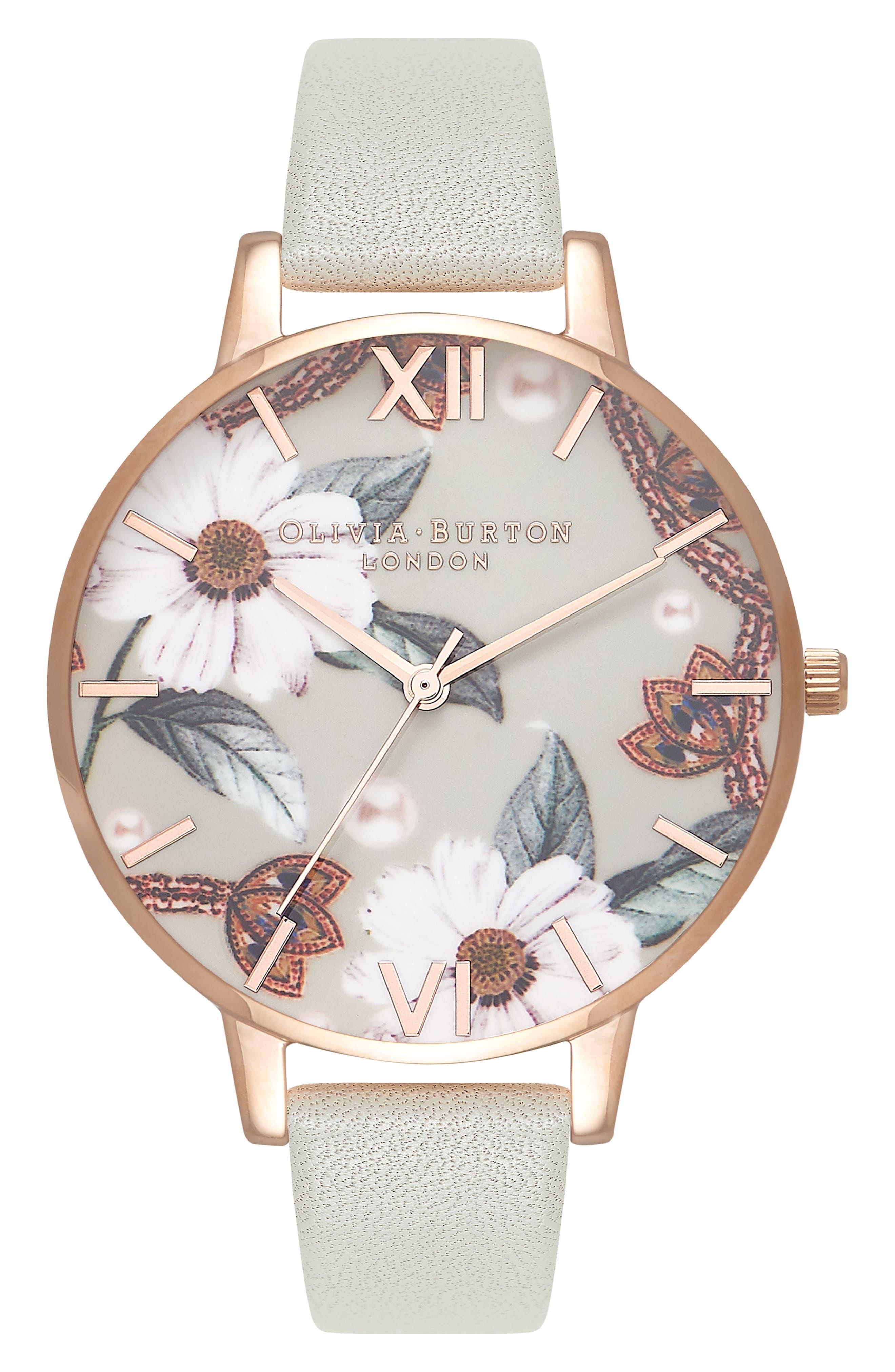 OLIVIA BURTON Bejewelled Leather Strap Watch, 38mm, Main, color, GREY/ FLORAL/ ROSE GOLD