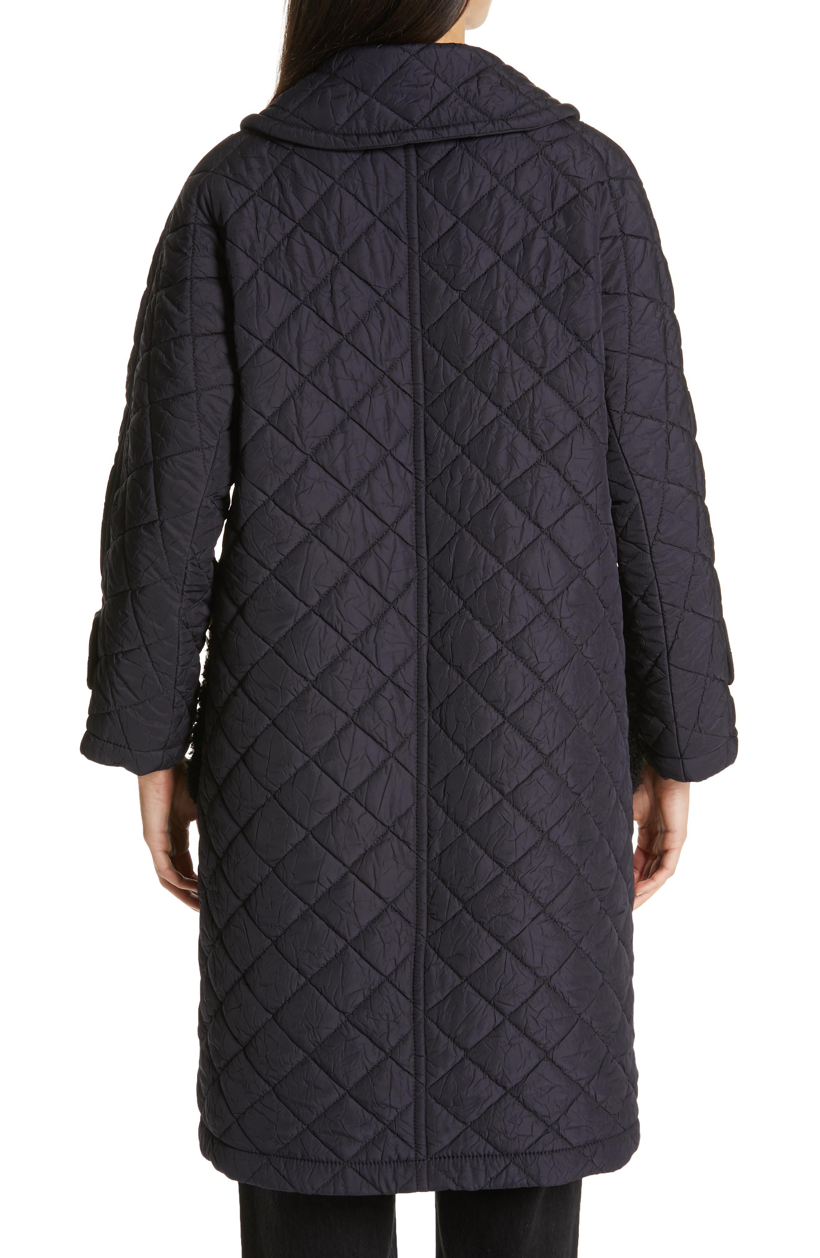 TRICOT COMME DES GARÇONS, Quilted Coat with Faux Fur Trim, Alternate thumbnail 2, color, NAVY X BLACK