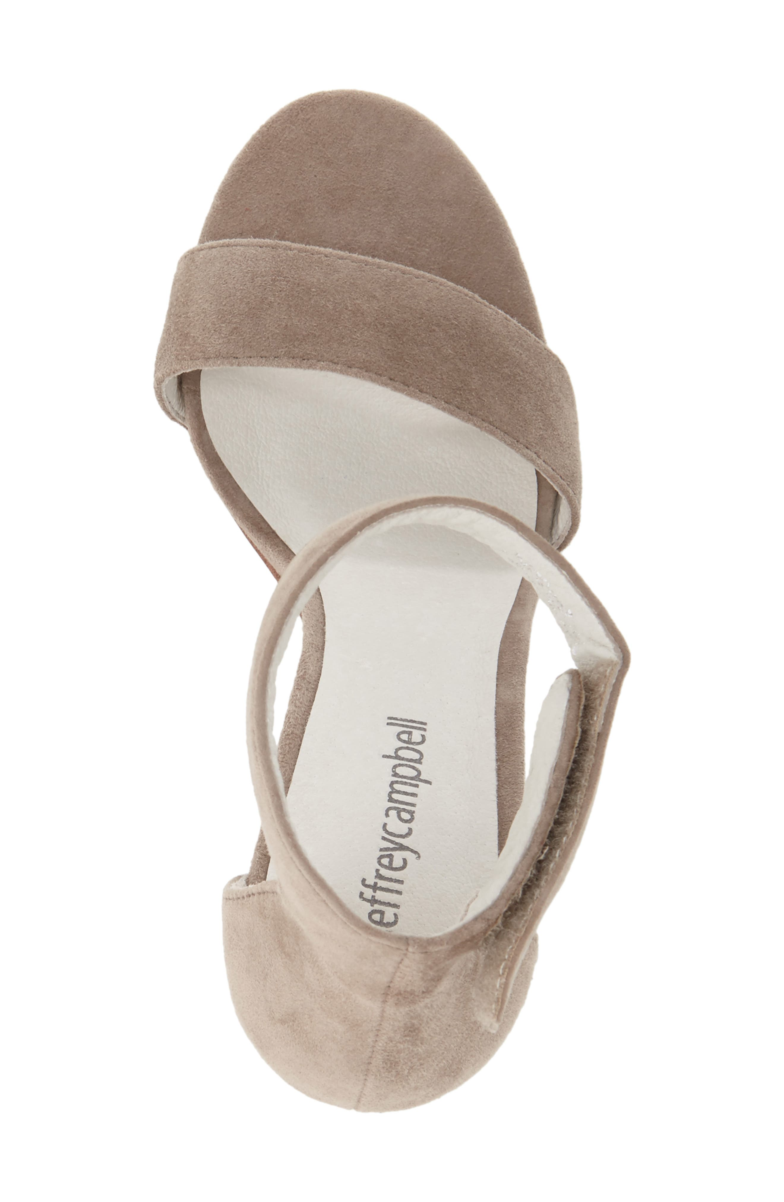 JEFFREY CAMPBELL, Lindsay Ankle Strap Sandal, Alternate thumbnail 3, color, TAUPE SUEDE