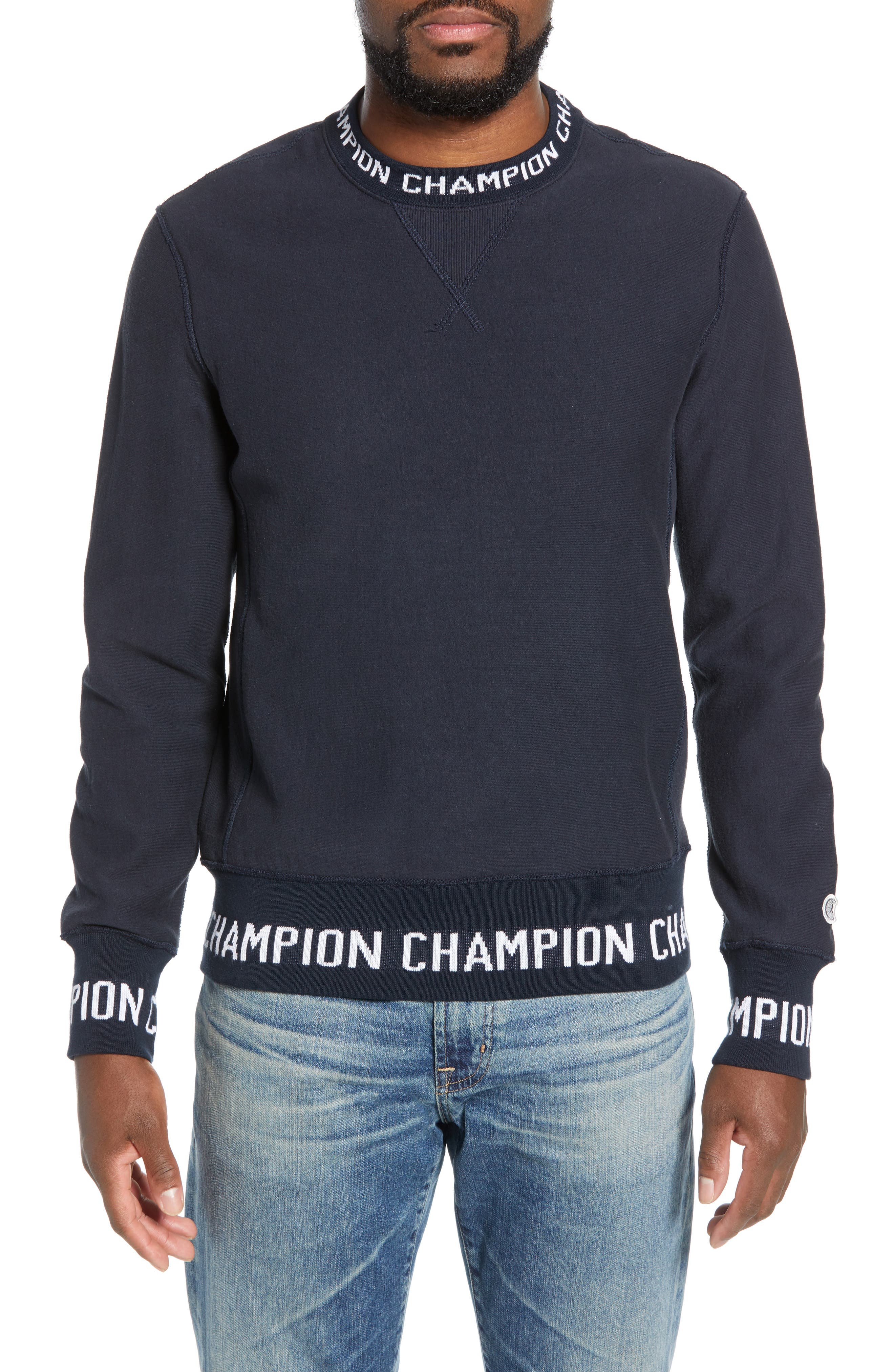 TODD SNYDER + CHAMPION, Todd Snyder x Champion Ribbed Logo Sweatshirt, Main thumbnail 1, color, NAVY