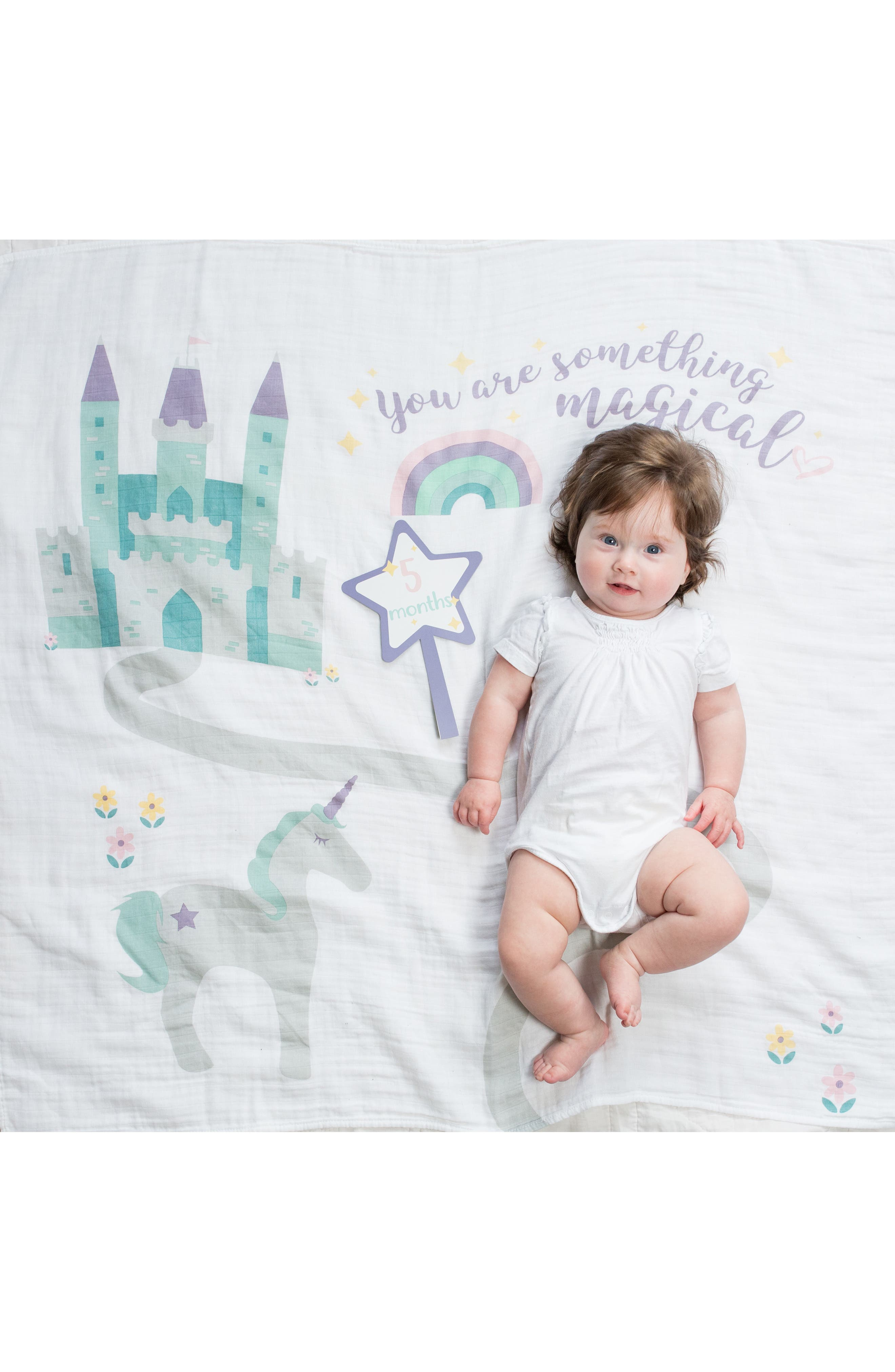LULUJO, Baby's First Year - Something Magical Muslin Blanket & Milestone Card Set, Alternate thumbnail 5, color, LAVENDER