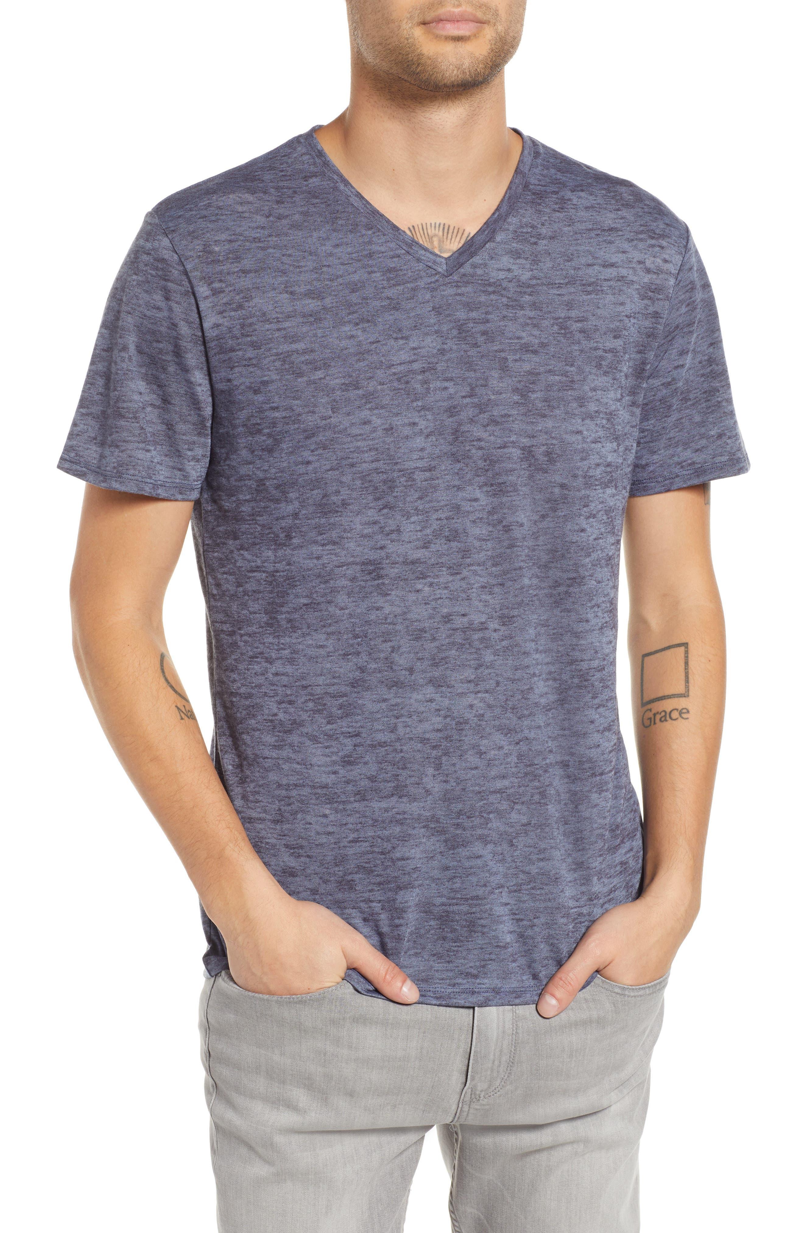 THE RAIL, Burnout V-Neck T-Shirt, Main thumbnail 1, color, BLUE STONEWASH - NAVY BURNOUT