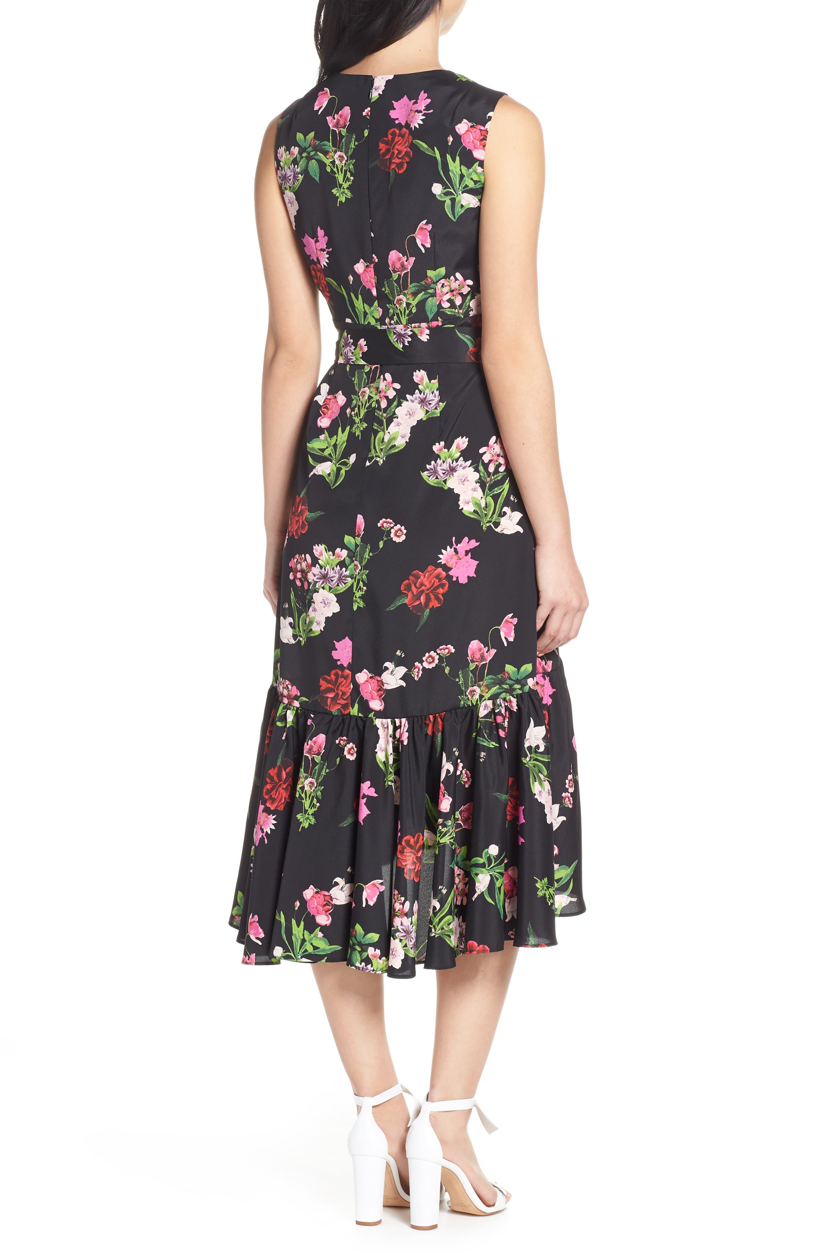 ELIZA J, Ruffle Hem Faux Wrap Dress, Alternate thumbnail 4, color, BLACK