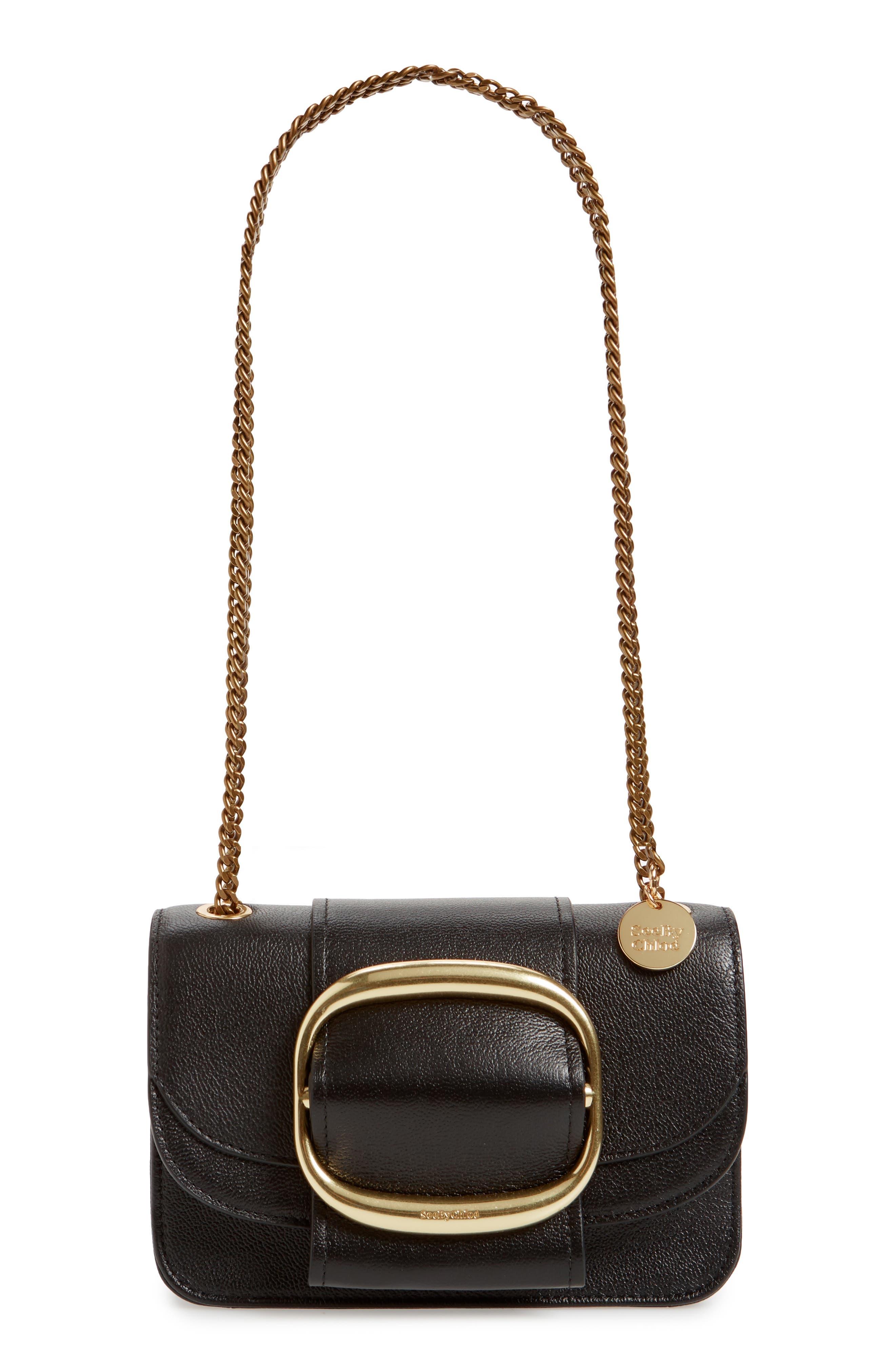 SEE BY CHLOÉ, Hopper Leather Shoulder Bag, Main thumbnail 1, color, 001