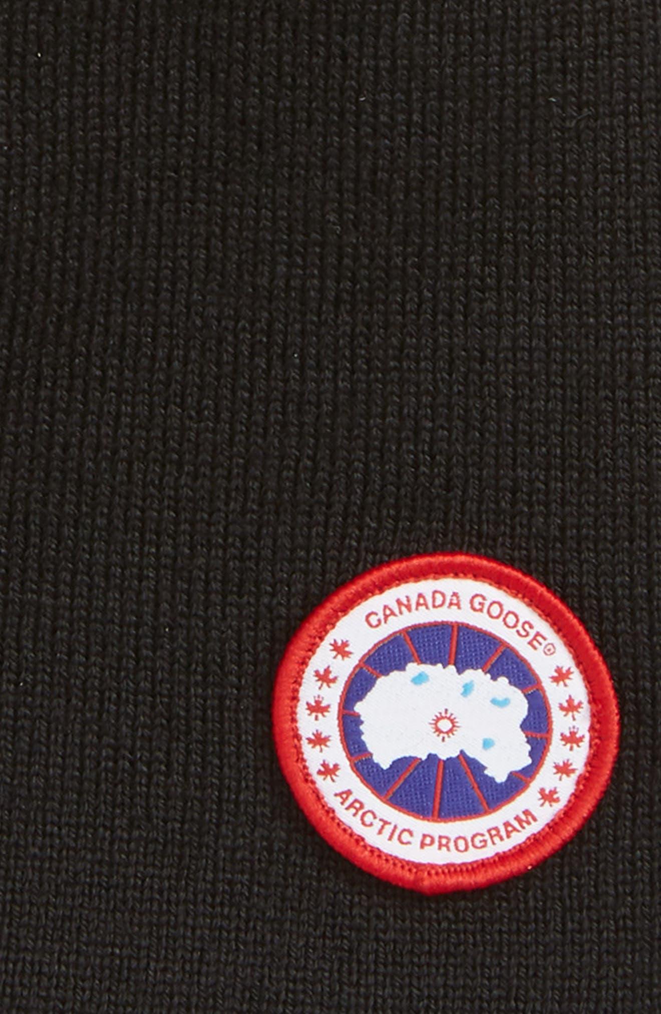 CANADA GOOSE, Standard Wool Blend Beanie, Alternate thumbnail 2, color, BLACK