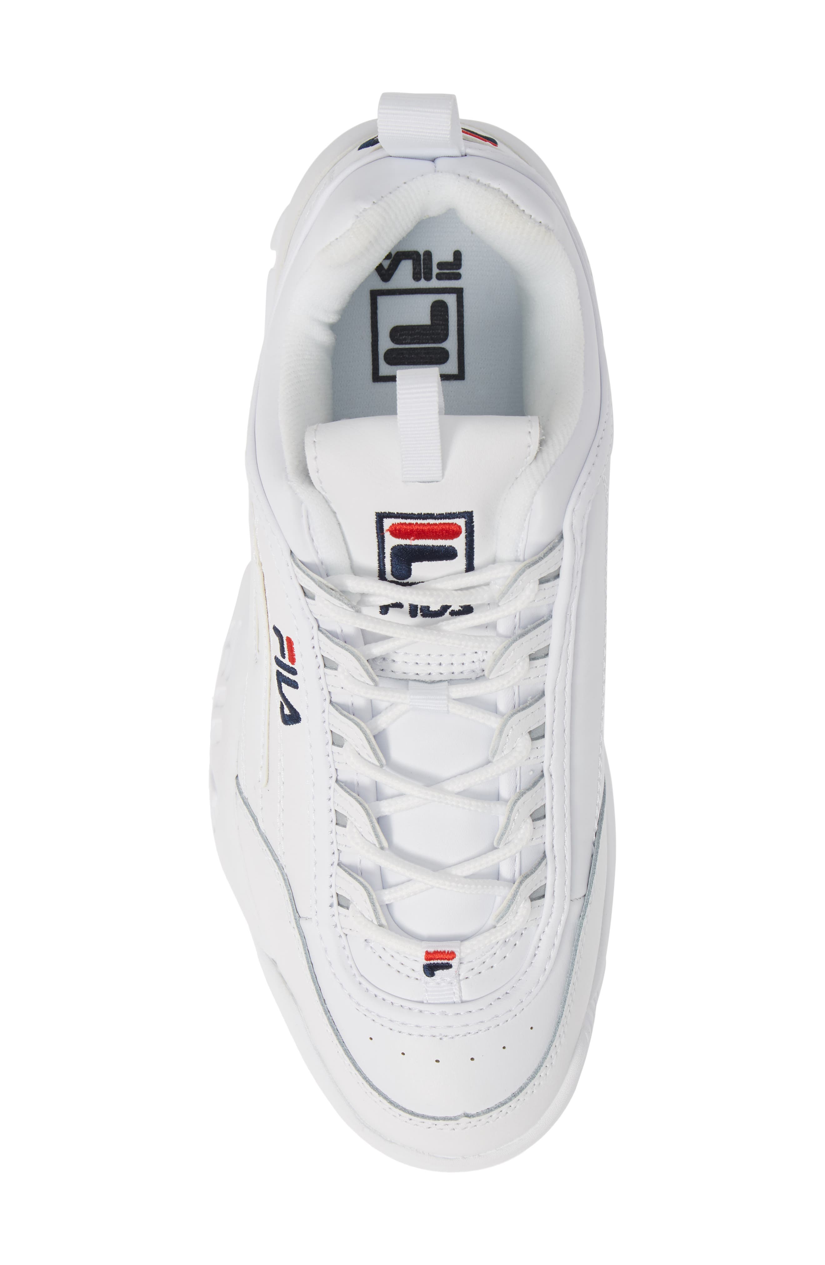 FILA, Disruptor II Premium Sneaker, Alternate thumbnail 5, color, WHITE/ NAVY/ RED