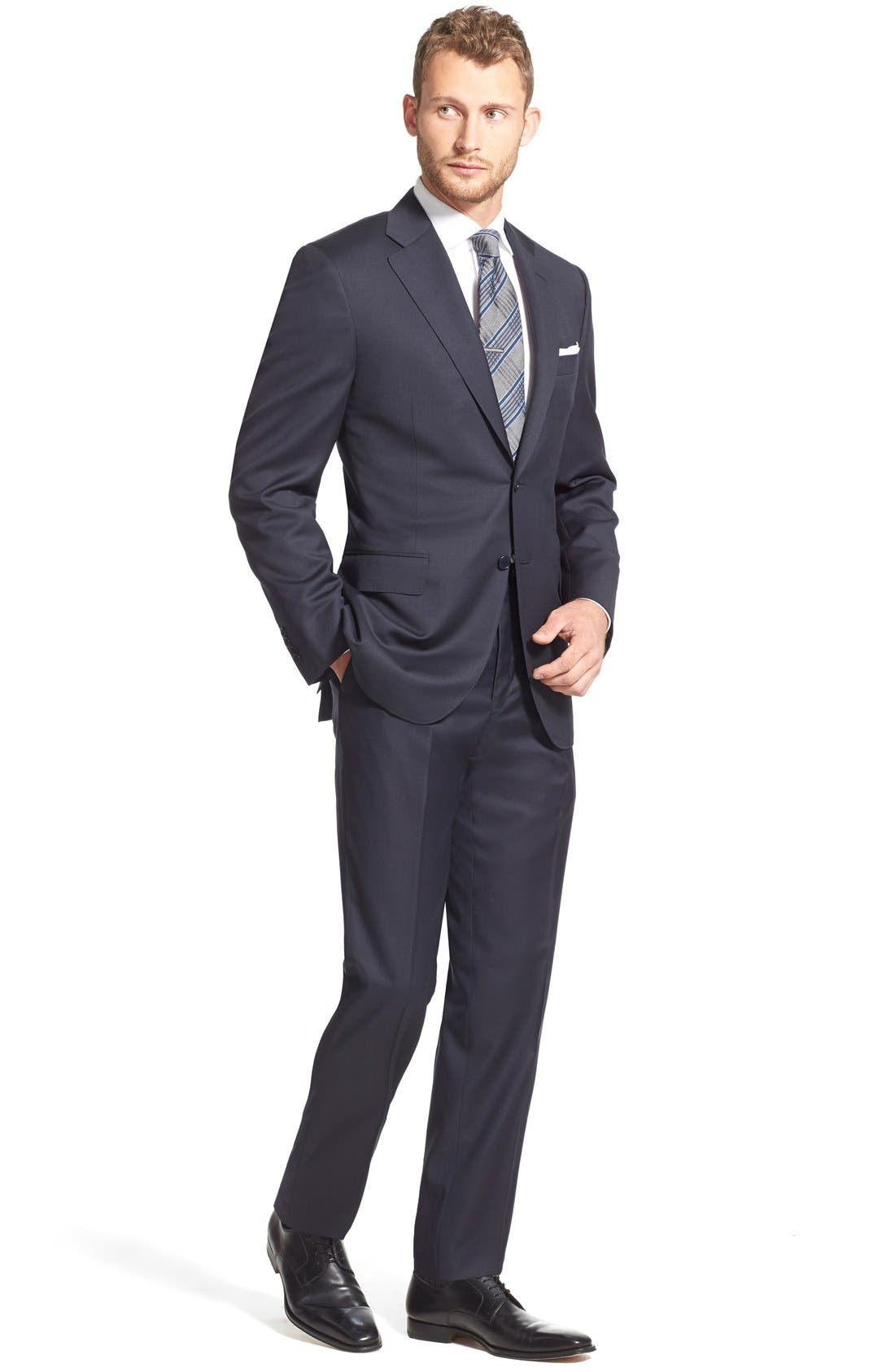 CANALI, Classic Fit Solid Wool Suit, Alternate thumbnail 9, color, NAVY