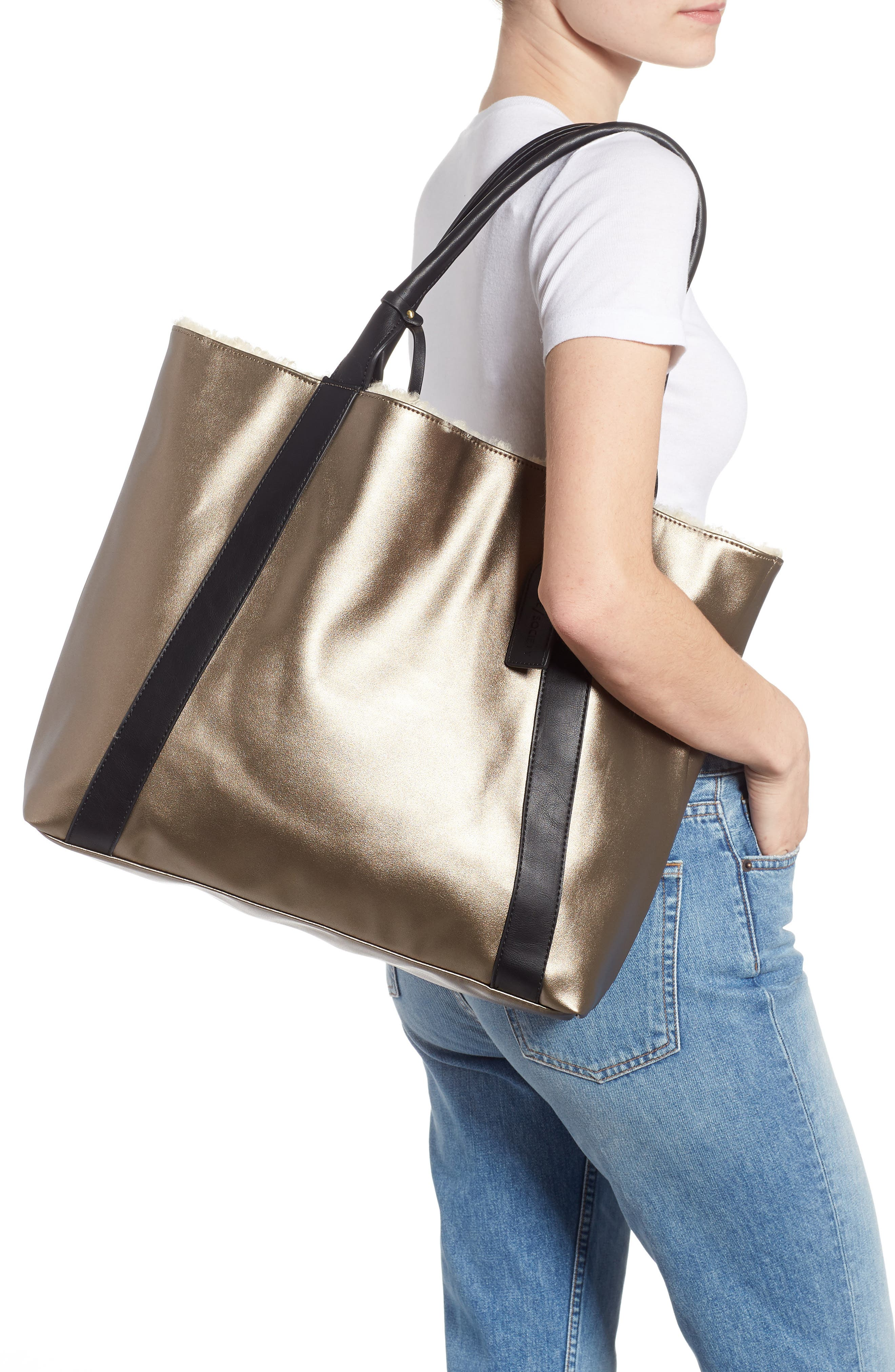 SOLE SOCIETY, Drury Faux Shearling Reversible Tote, Alternate thumbnail 2, color, PEWTER COMBO