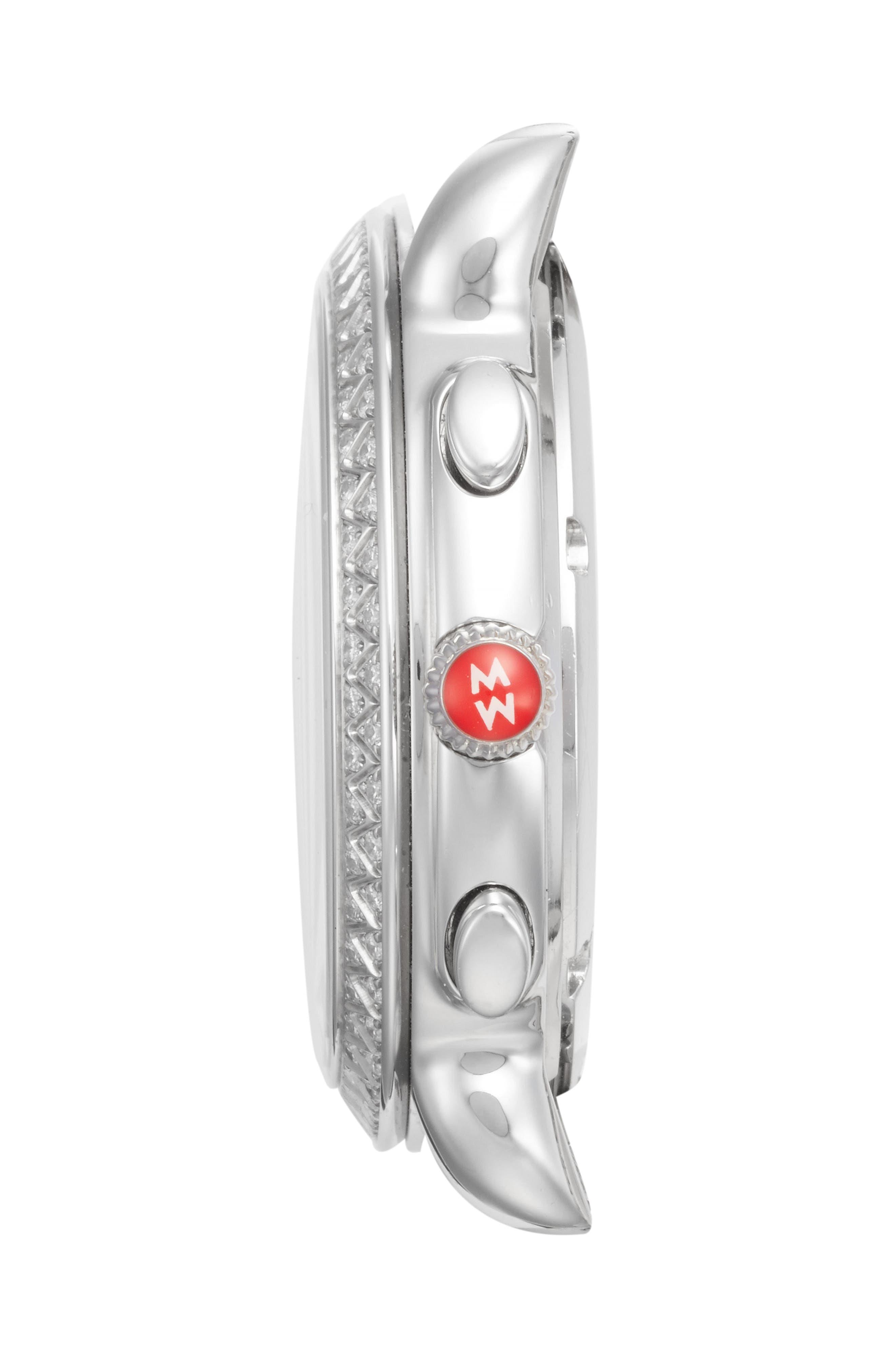 MICHELE, Sidney Chrono Diamond Diamond Dial Watch Case, 38mm, Alternate thumbnail 3, color, SILVER/ MOP