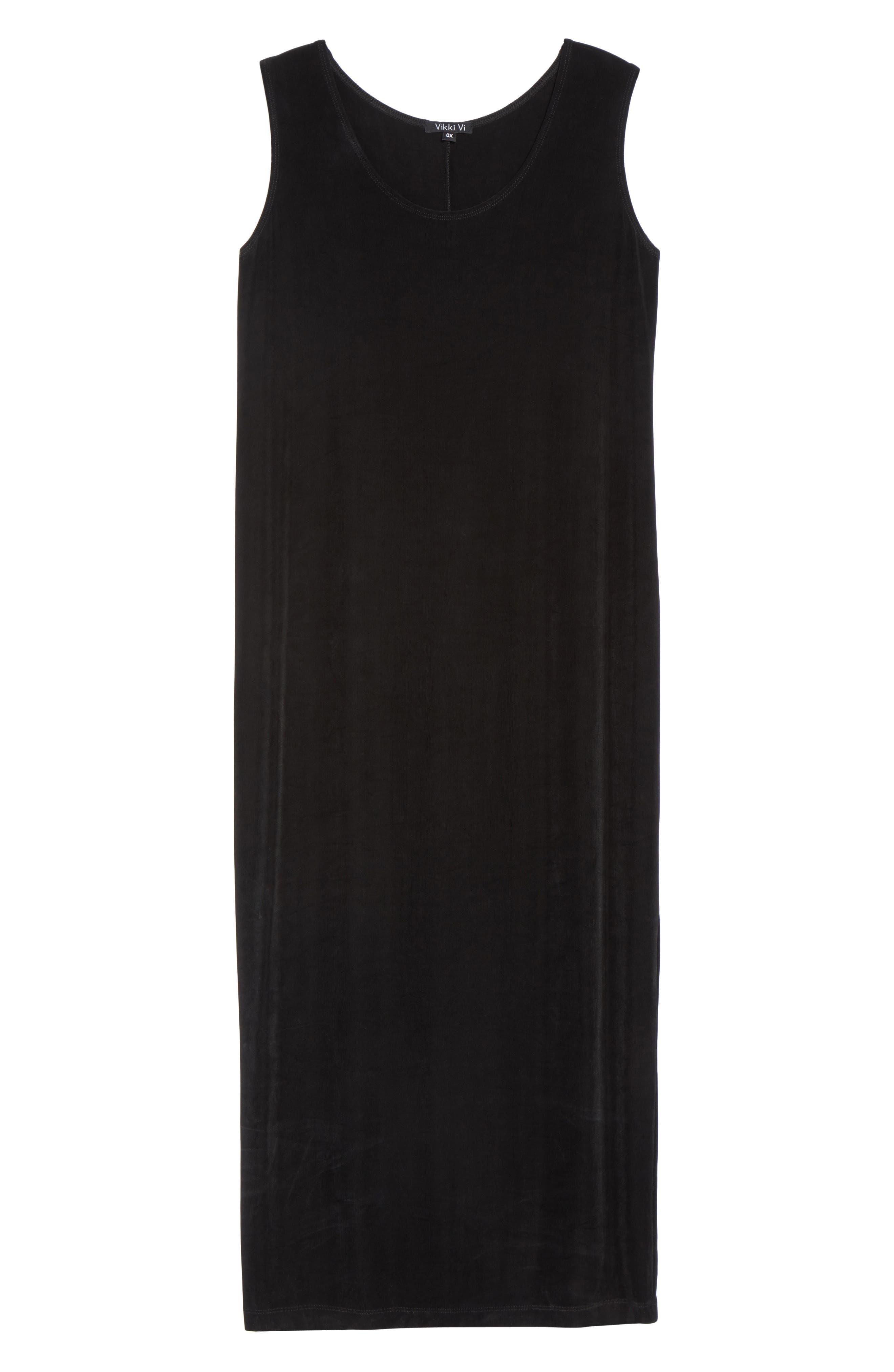 VIKKI VI, Sleeveless Maxi Tank Dress, Alternate thumbnail 6, color, BLACK