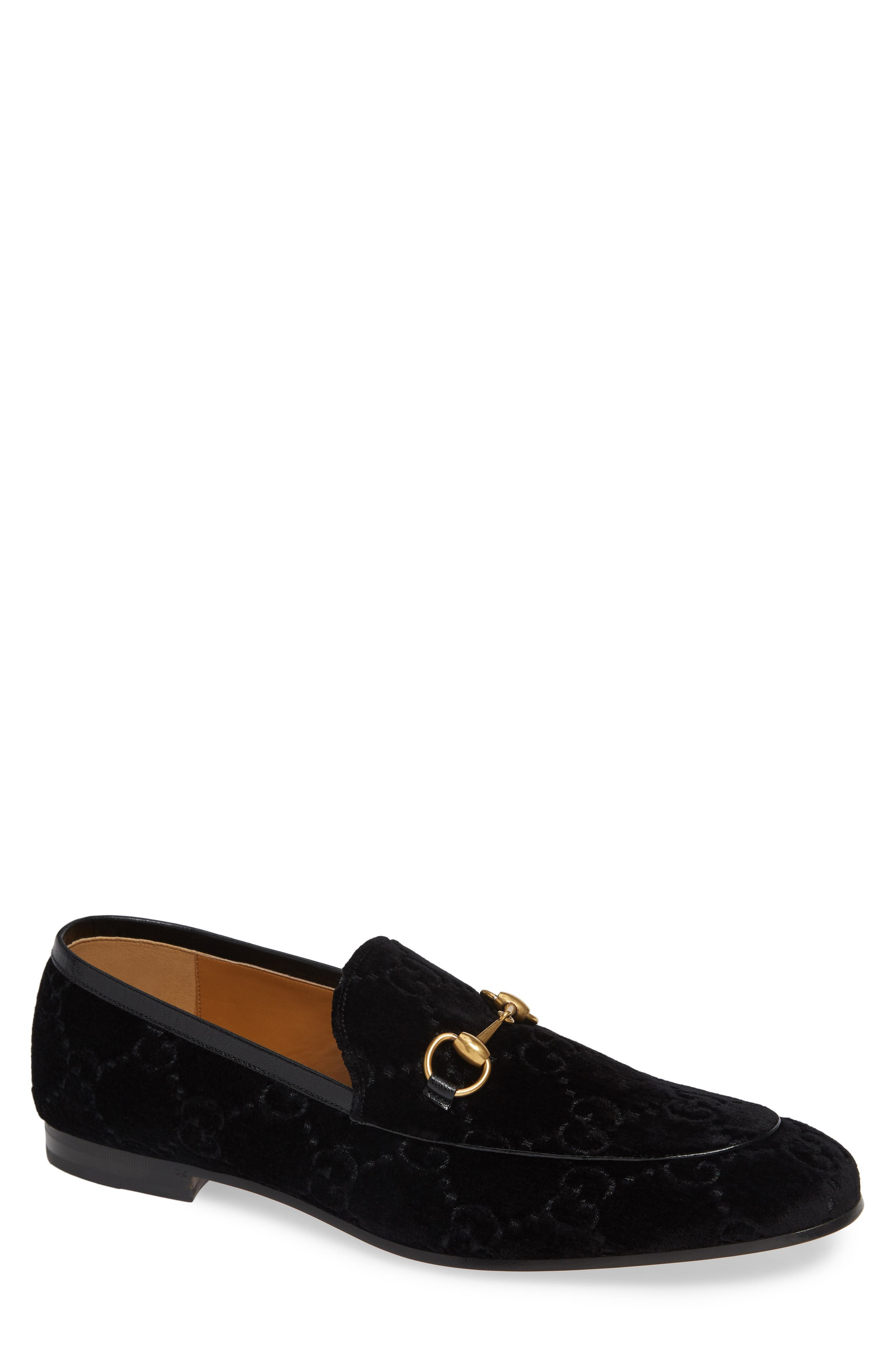 GUCCI, Jordaan GG Velvet Loafer, Main thumbnail 1, color, NERO/ NERO