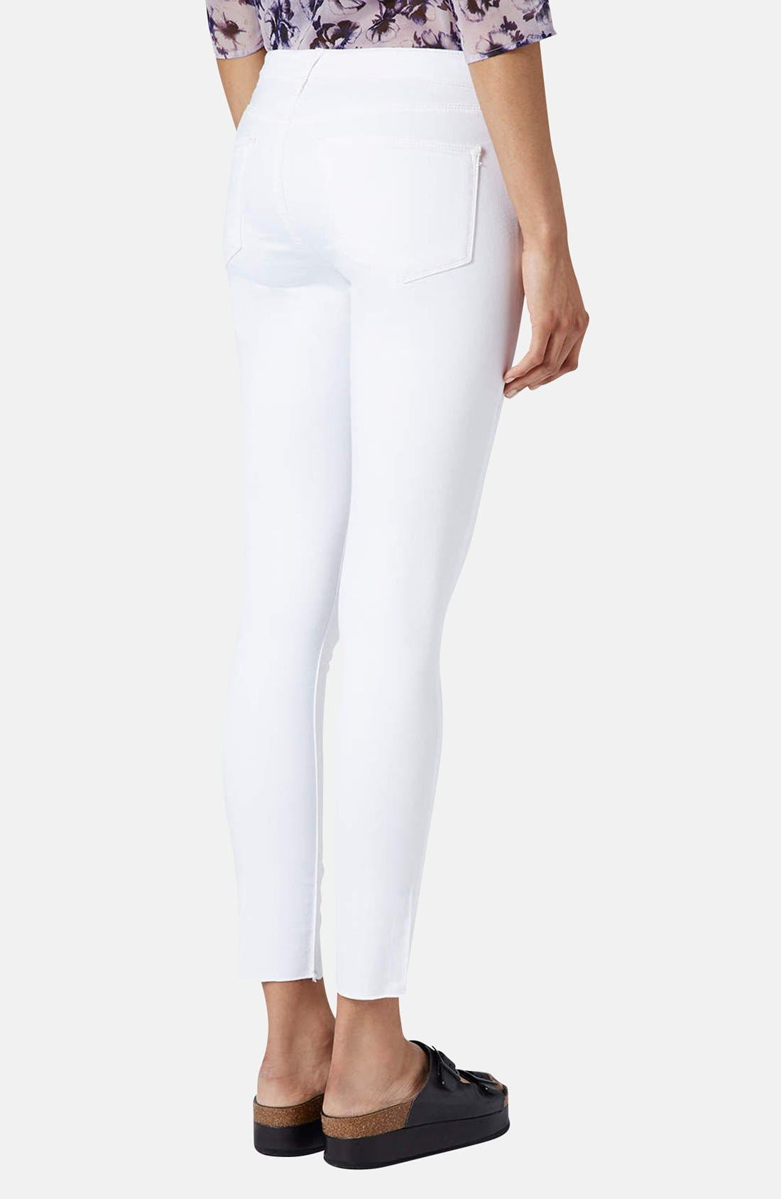 TOPSHOP, Moto 'Leigh' Distressed Skinny Jeans, Alternate thumbnail 4, color, 100