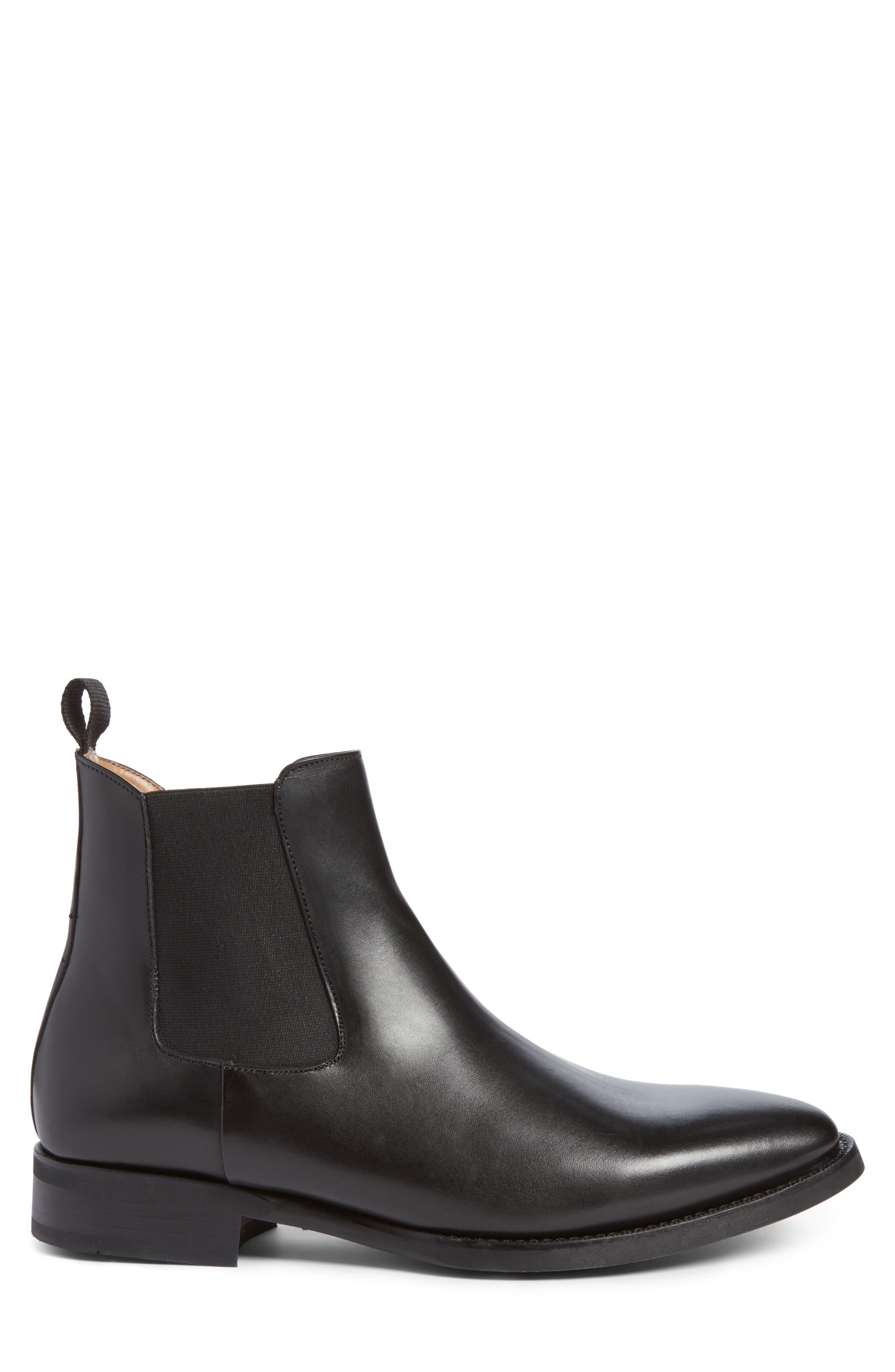 JACK ERWIN, Ellis Water Resistant Chelsea Boot, Alternate thumbnail 3, color, BLACK LEATHER