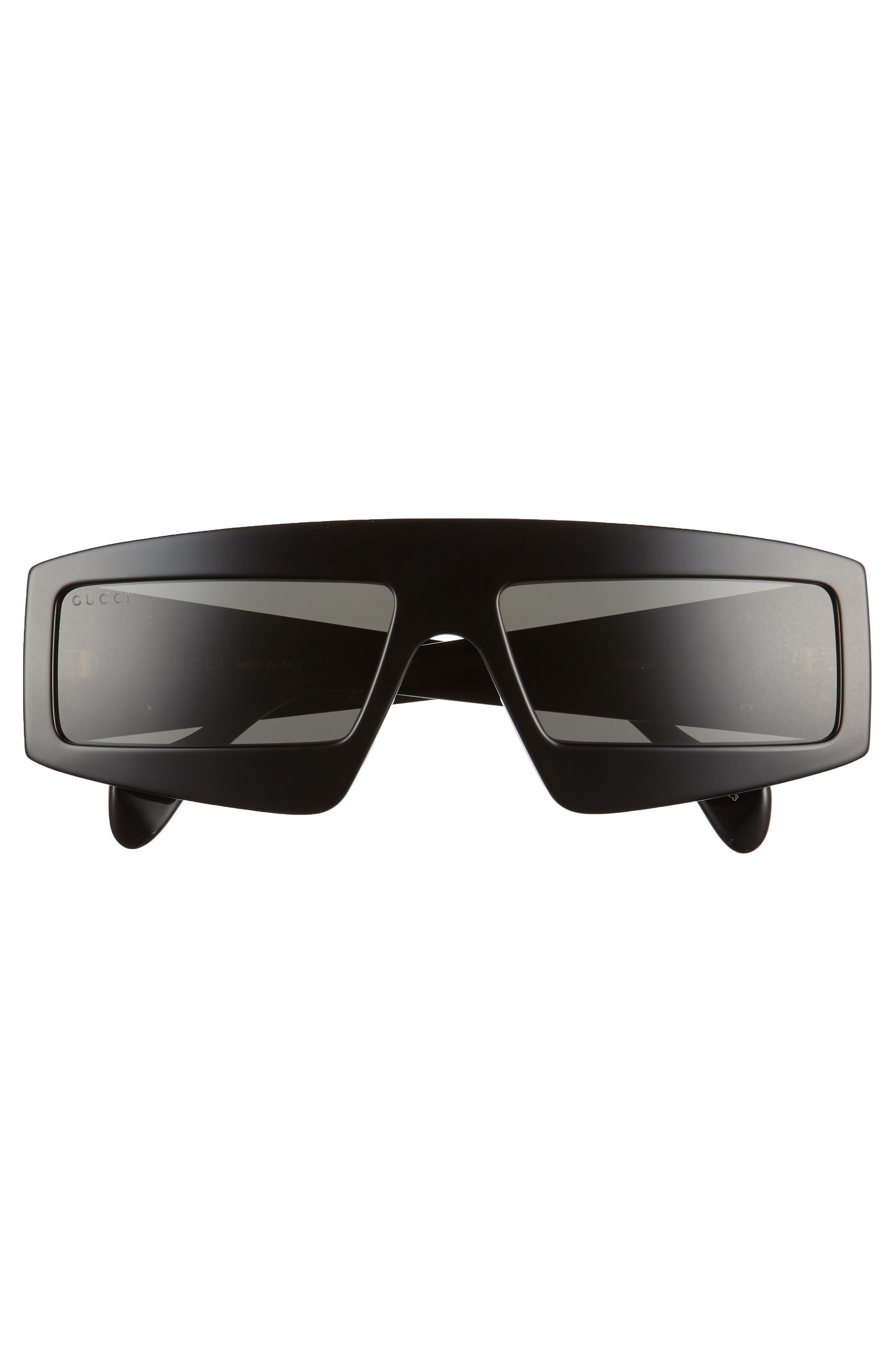 GUCCI, 61mm Shield Sunglasses, Alternate thumbnail 3, color, 001